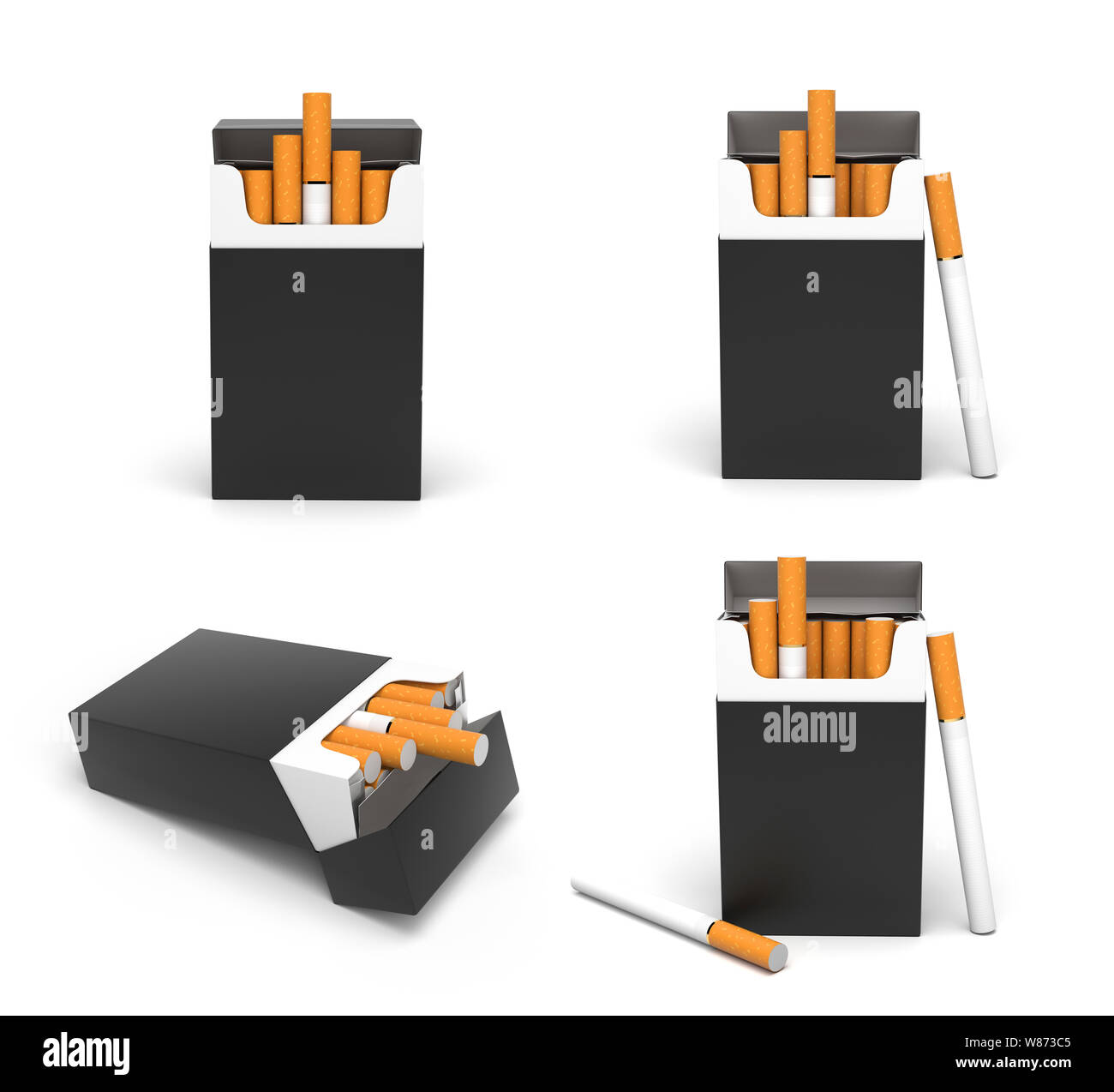 Black open packs of cigarettes Stock Photo
