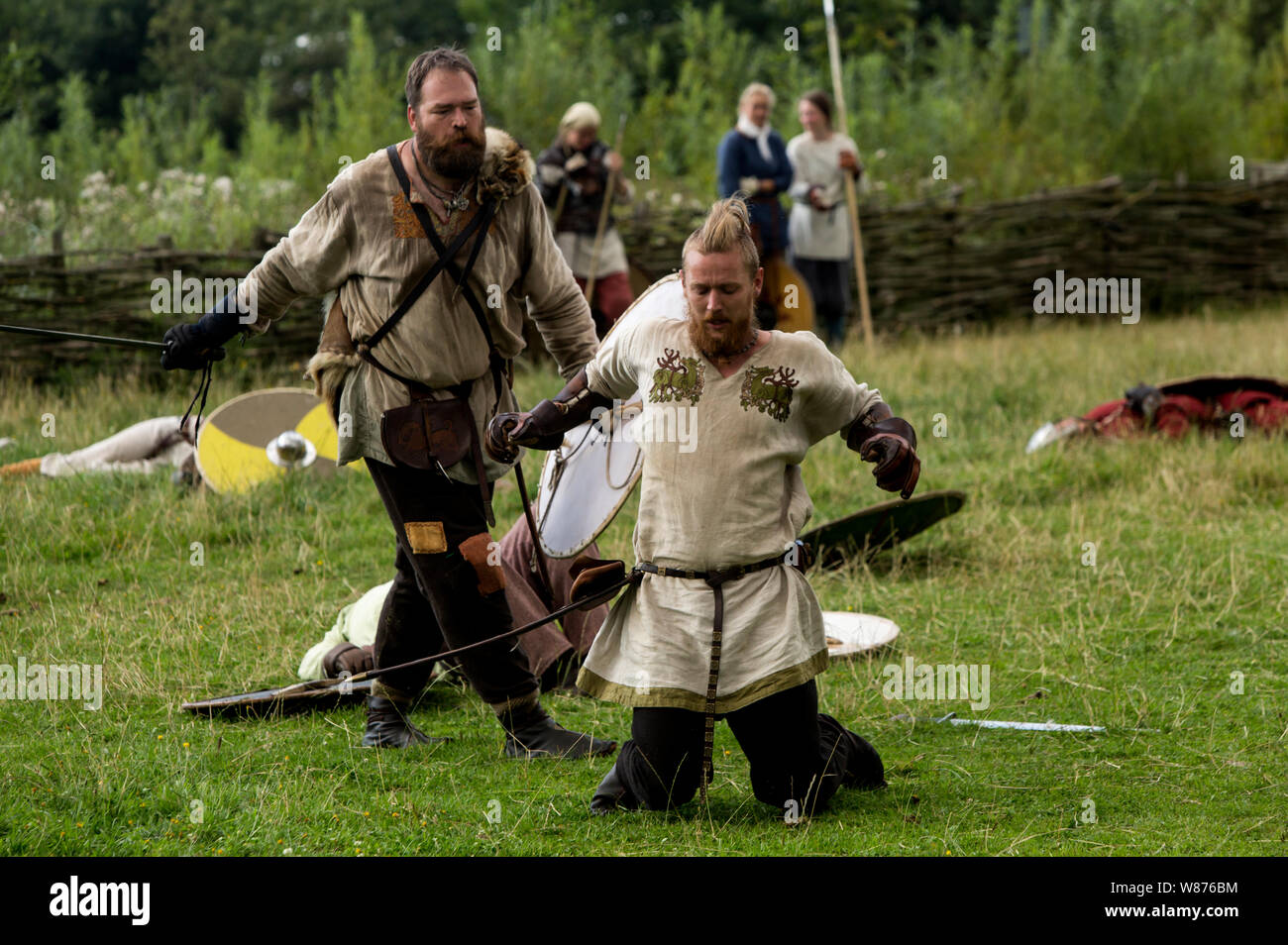 Viking Warriors Are Fighting On The Battlefield At Ribe