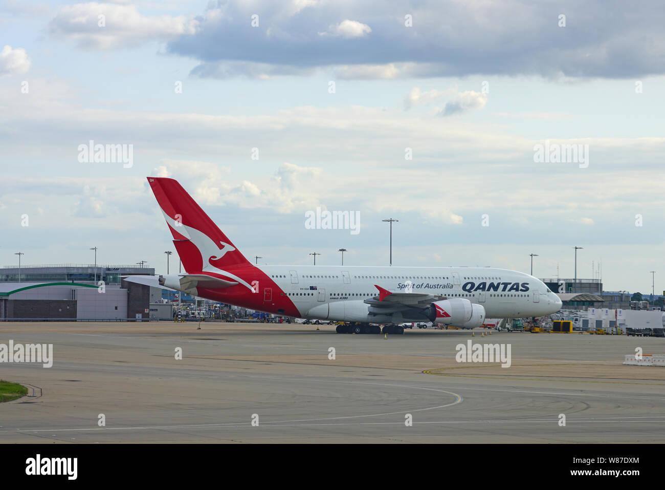 HEATHROW, ENGLAND -28 JUL 2019- View of an Airbus A380 airplane from Australian airline Qantas (QF), Spirit of Australia, at London Heathrow Airport ( Stock Photo