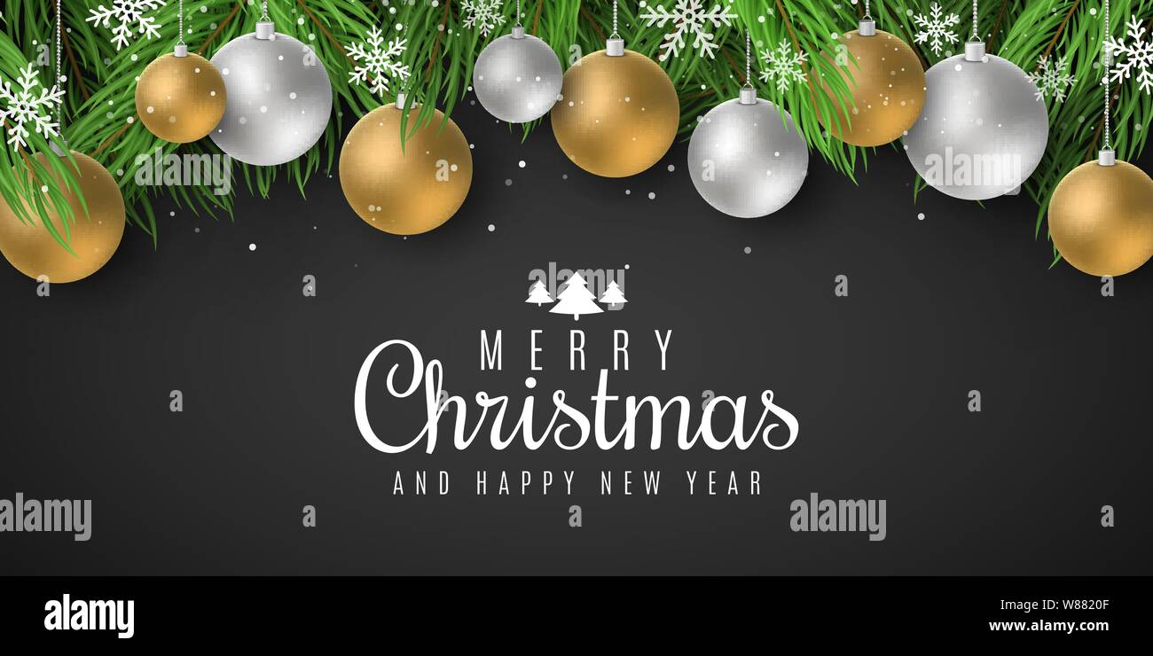 Festive template for Merry Christmas and Happy New Year 2020 with