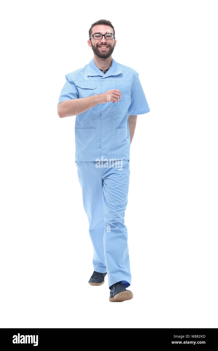 in full growth. men doctor confidently stepping forward Stock Photo