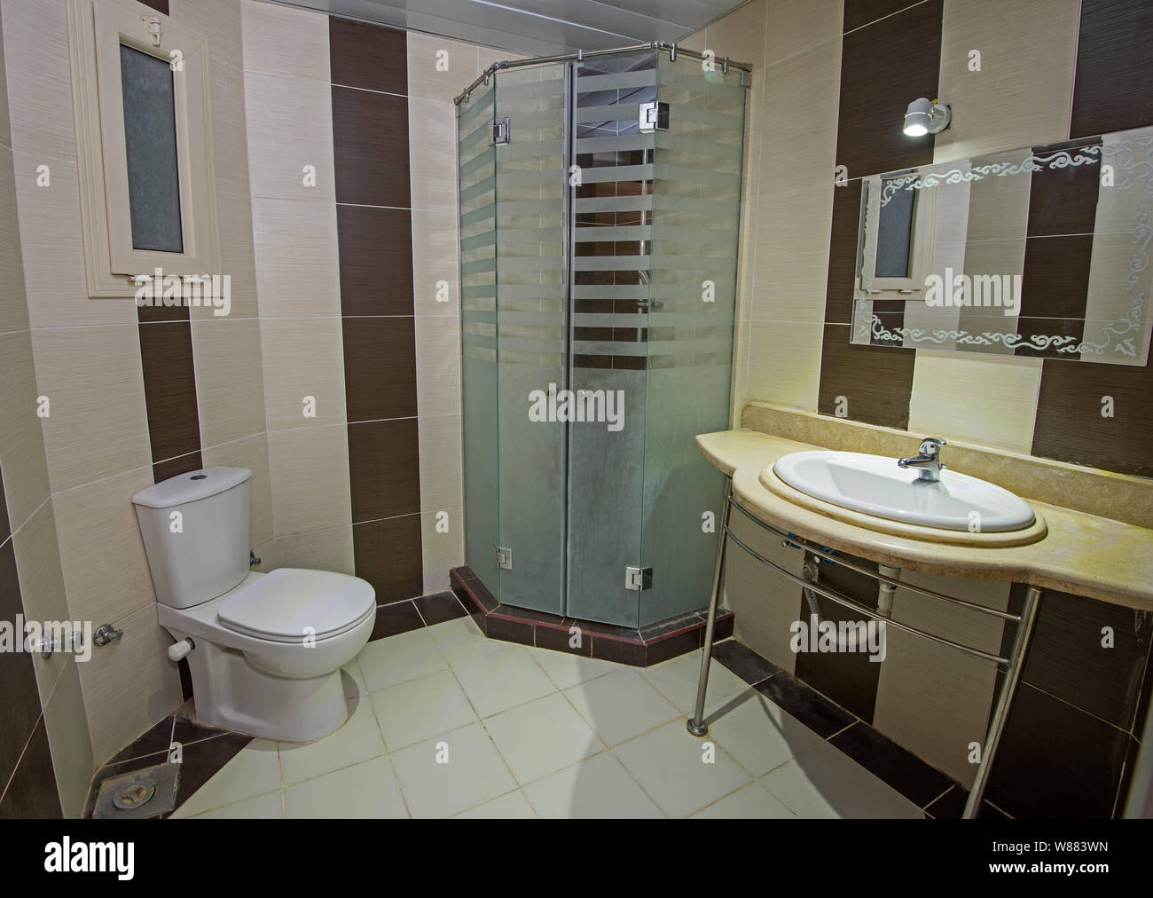 Interior Design Of A Luxury Show Home Bathroom With Shower Cubicle Stock Photo Alamy