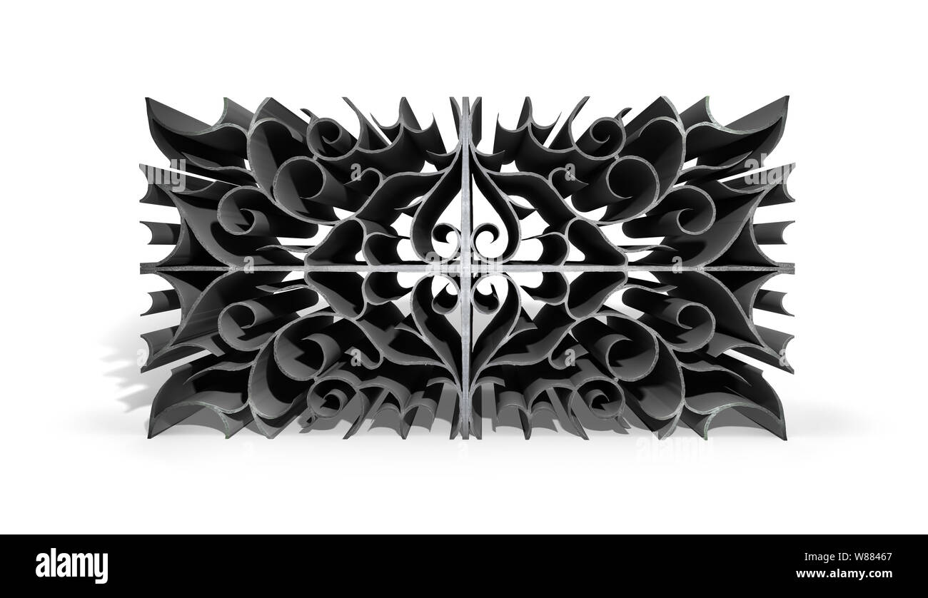 Abstract metal patterns design on white background. 3D illustration. Stock Photo