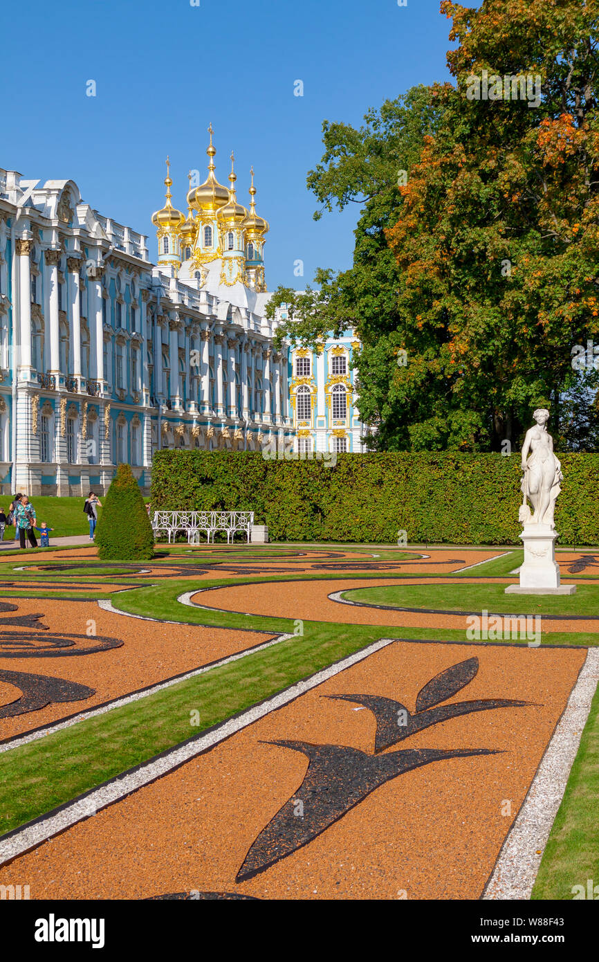 The Catherine Palace, located in the town of Tsarskoye Selo Pushkin , St. Petersburg, Russia Stock Photo