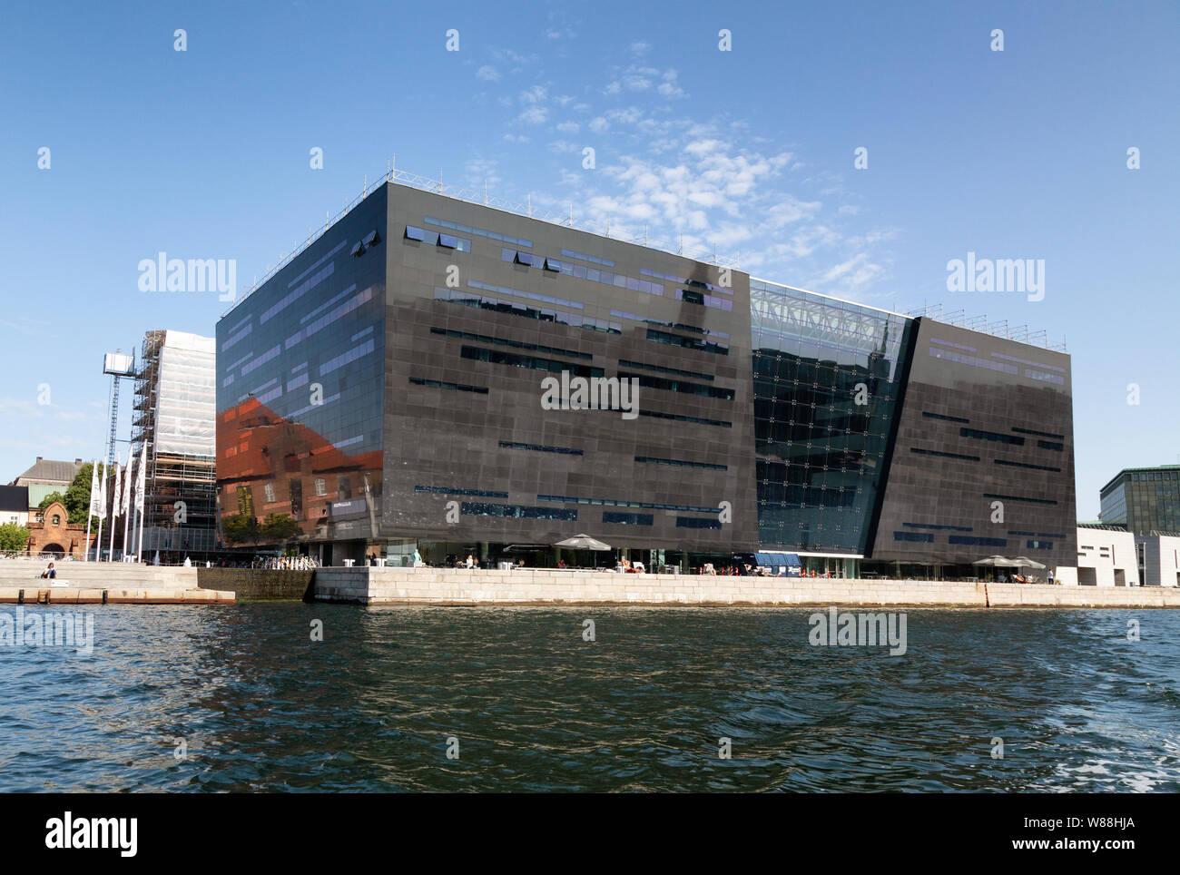 Denmark architecture; The Black Diamond, a modern extension to the Royal Danish Library Copenhagen, completed in 1999; Copenhagen, Denmark Europe Stock Photo