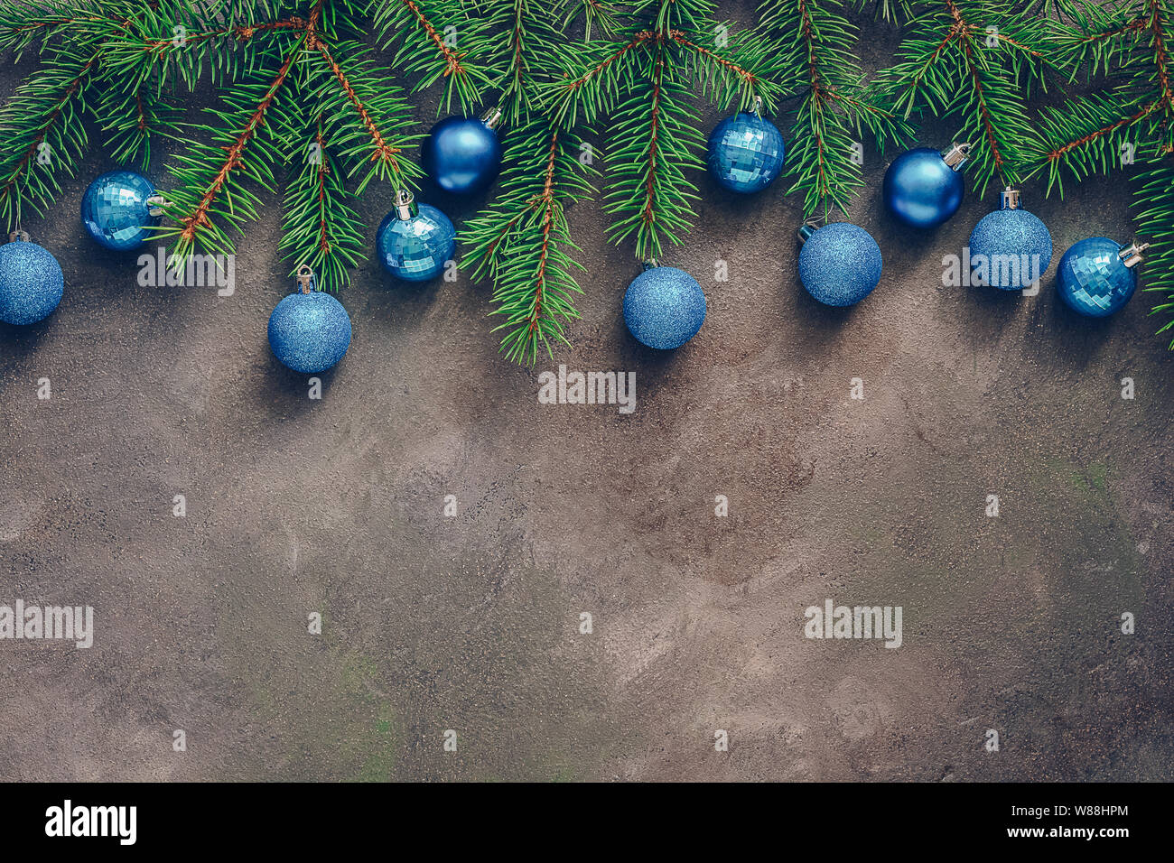 Beautiful Christmas Composition Spruce Branches Decorated With Blue Balls On A Dark Rustic Background Border Top View Flat Lay Copy Space Stock Photo Alamy