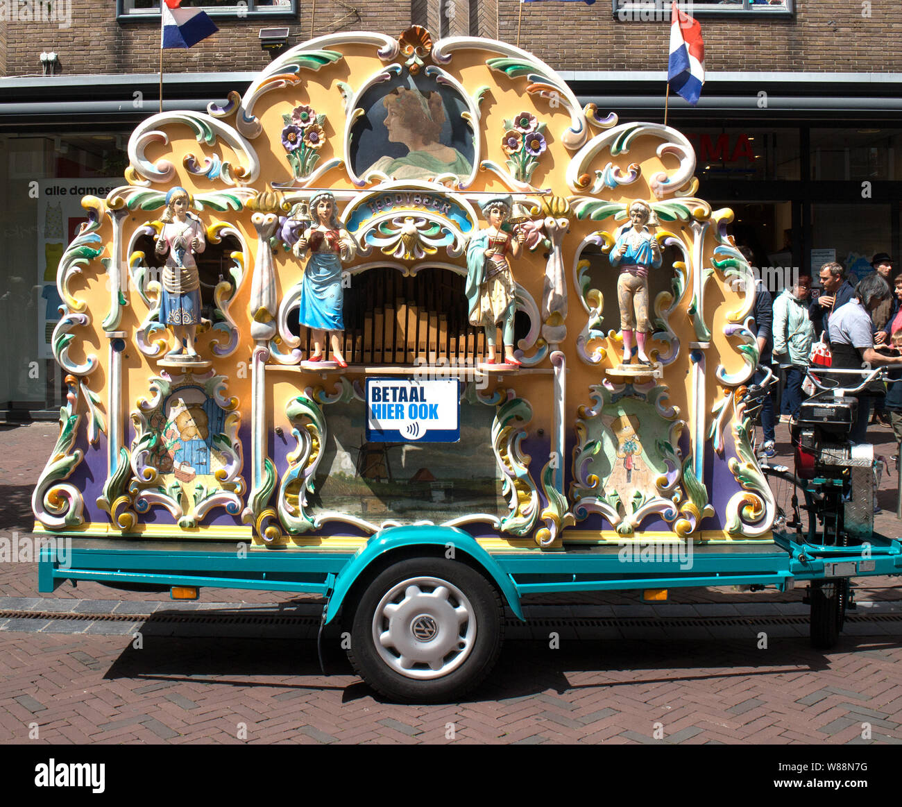 A traditional Dutch  Street Organ in Middelburg, The Netherlands Stock Photo