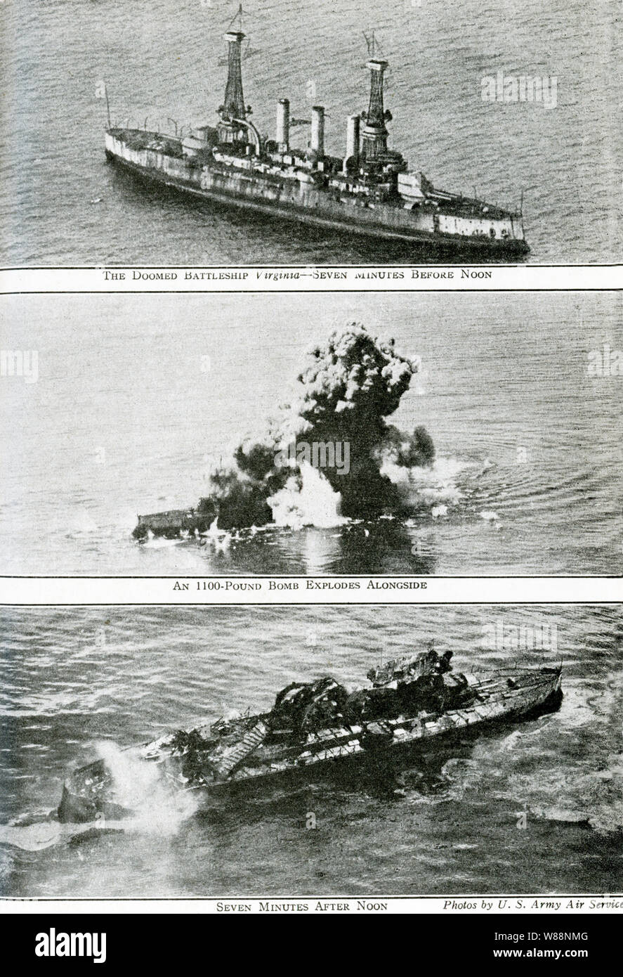 These photos date to September 5, 1923. The caption reads: What a Bomber from the air can do to a battleship. Top: The doomed battleship Virginia - Seven Minutes Before Noon; Middle: An 1100-pound bomb explodes alongside; Bottom: Seven Minues after Noon. In 1922, the U.S. War Department classified the Virginia as a target ship for bombing tests, along with her sister ship the USS New Jersey. The New Jersey was bombed first and sunk and then the Virginia. Stock Photo
