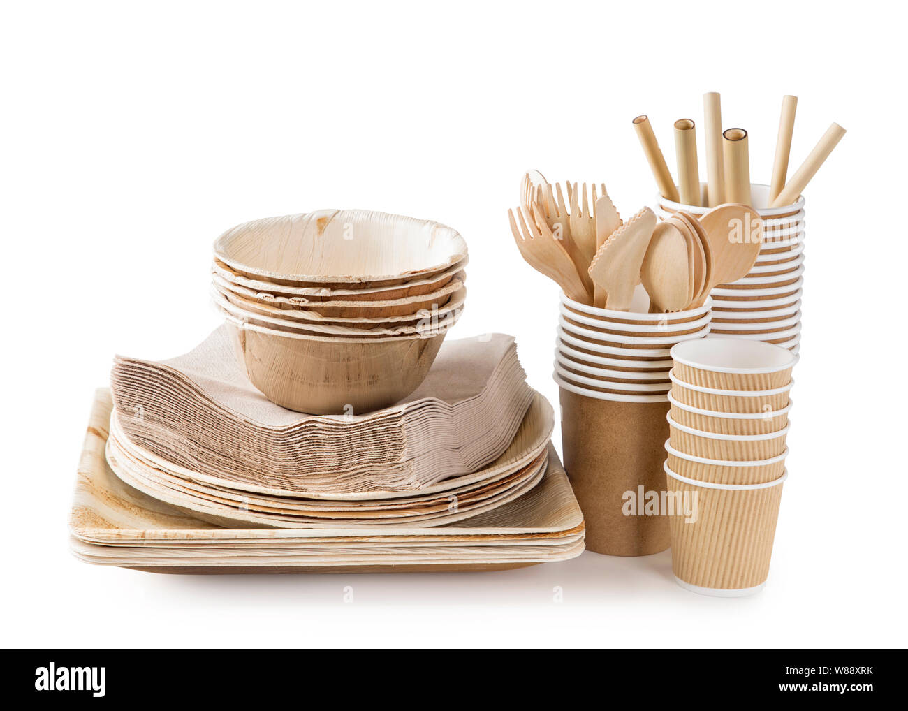 Eco Friendly Disposable Tableware Isolated On A White Background Stock Photo Alamy
