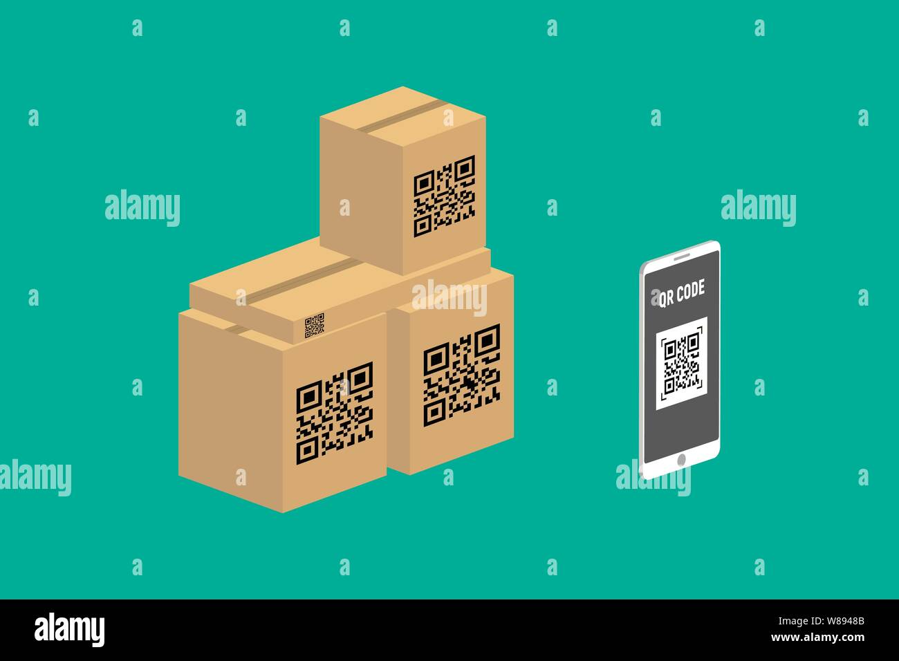 Barcode Verification isometric flat vector concept of qr code, barcode scanning