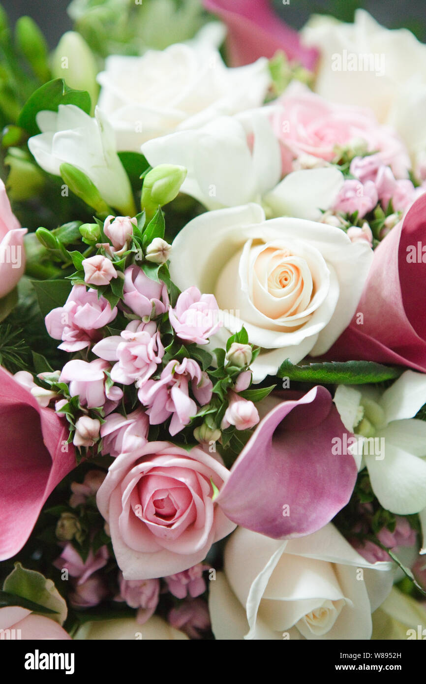 Wedding Flowers White Rose And Pink Calla Lily Bouquet Stock Photo Alamy