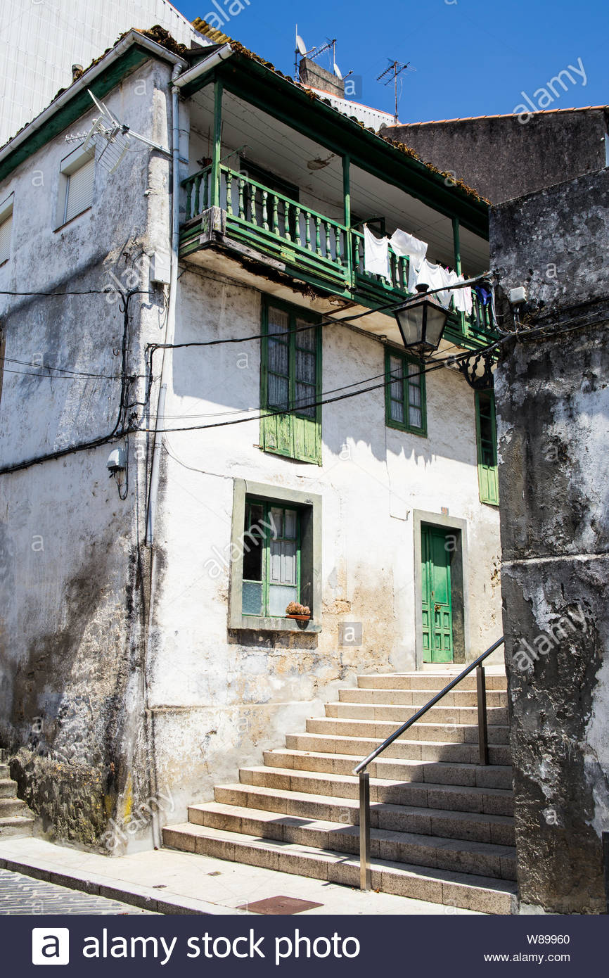 Cityscape with shabby medieval houses Stock Photo