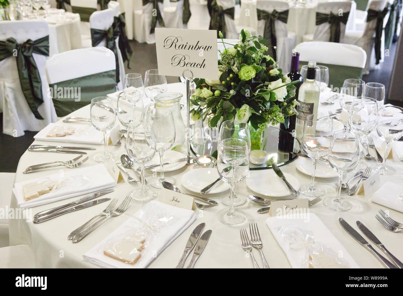 White Green Wedding Reception Decorations Stock Photo