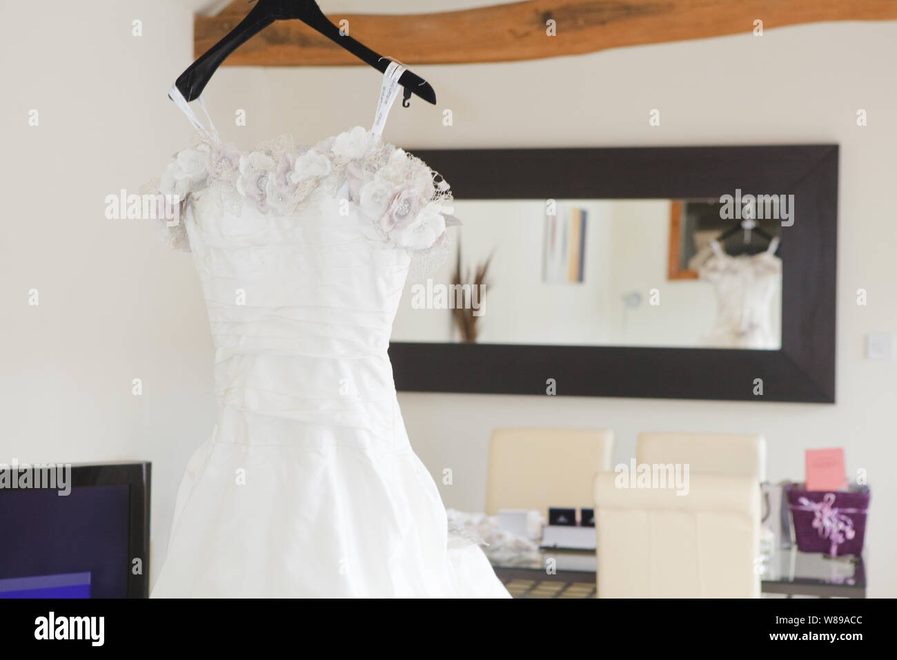 Ian Stuart Floral Wedding Dress Stock Photo