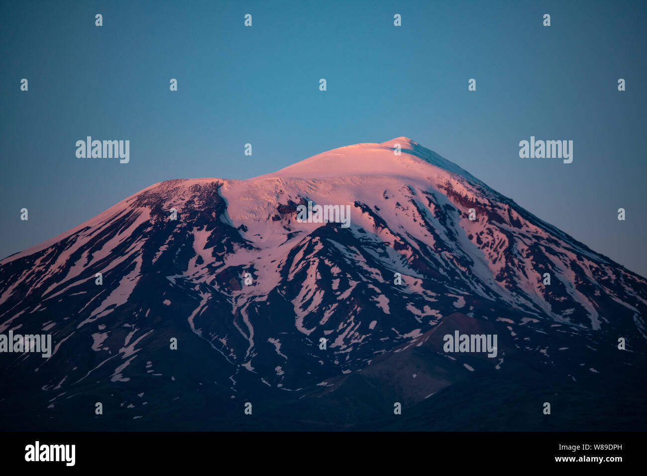 pink, sunset, plateau, grass, sky, blue, scenic, climbing, grassland, turkey, peak, mount, ararat, snow, landscape, nature, volcano, agri, travel, roc Stock Photo