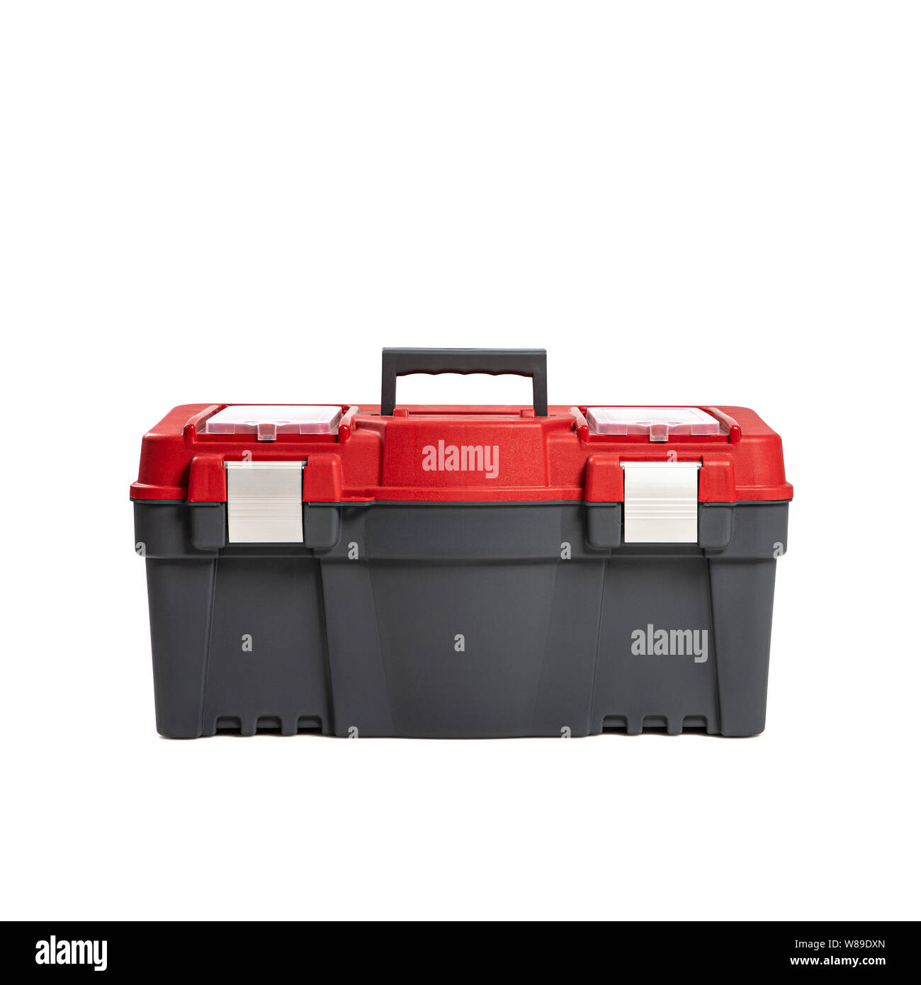 Plastic tool box isolated on a white background. Do it yourself idea. Stock Photo