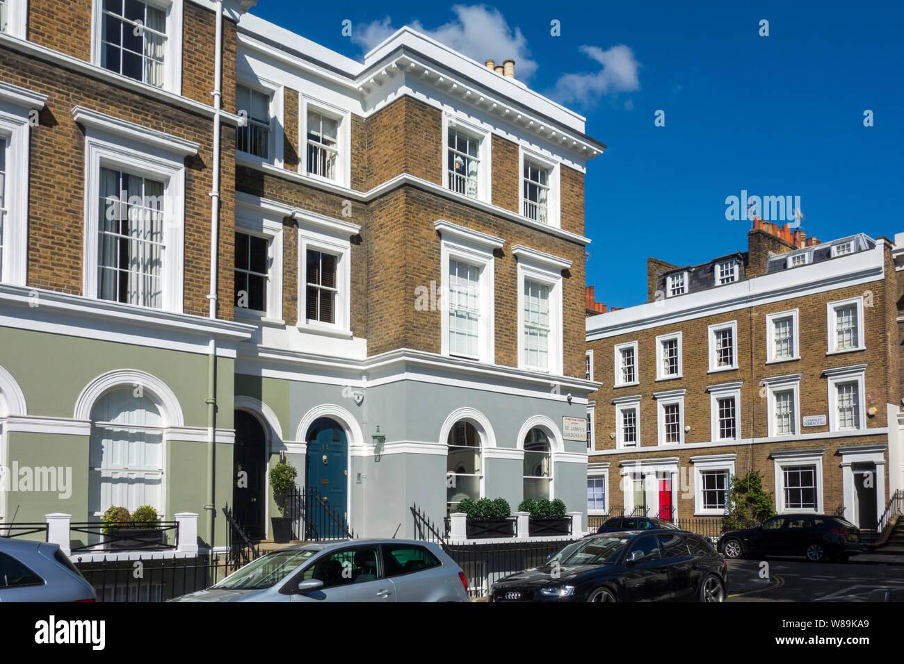 Terraced houses on St. James's Gardens, The Royal Borough of Kensington and Chelsea, Notting Hill, London, UK Stock Photo