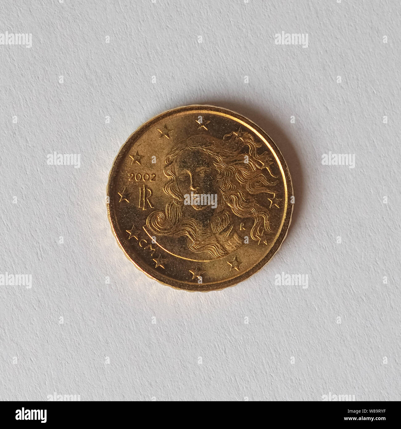 10 cents coin money (EUR), currency of Italy, European Union Stock Photo