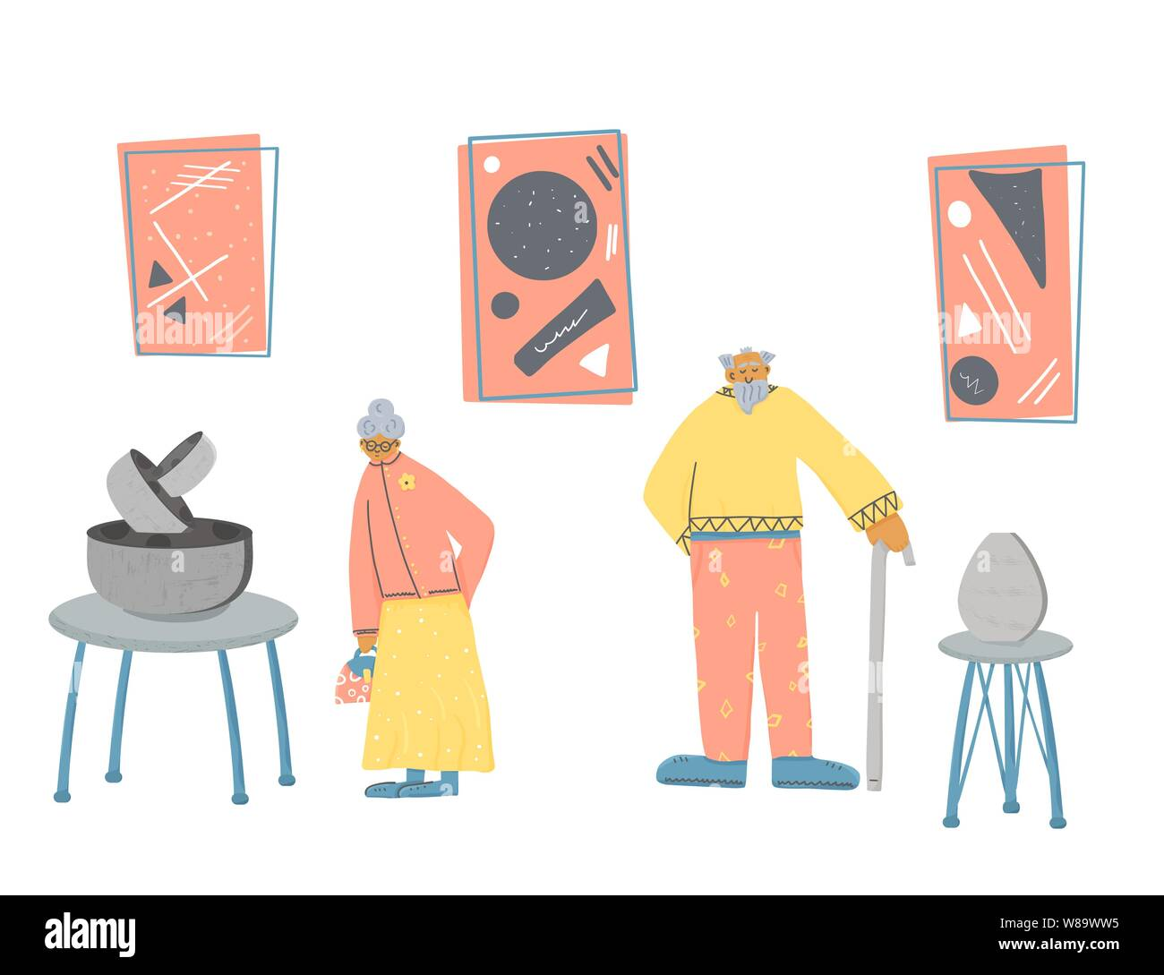 Museum visitors. Senior man and woman standing full lengt. Elderly character walking at contemporary art gallery. Vector characters design in flat sty Stock Vector