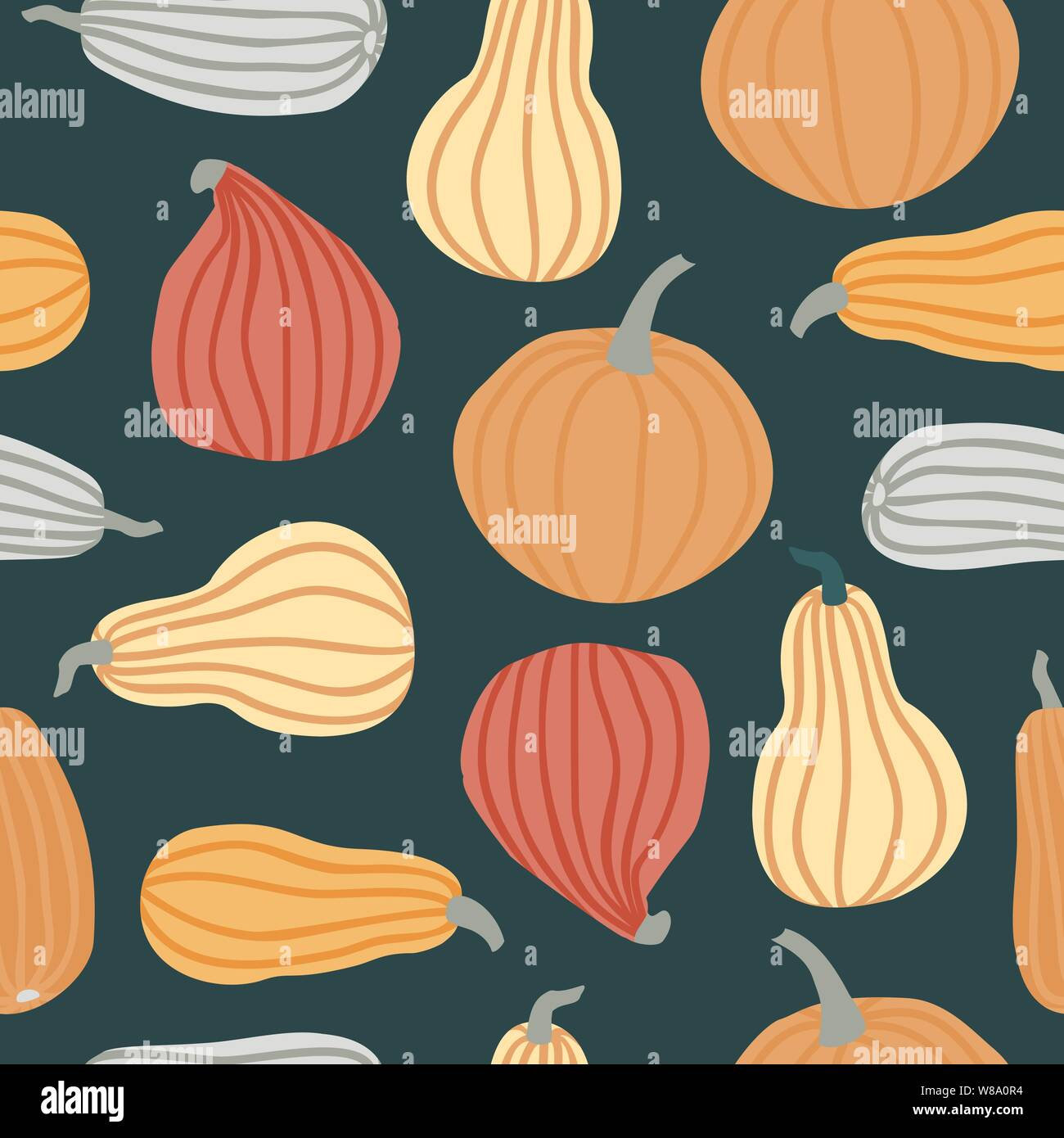 Hand Draw Pumpkin Seamless Pattern In Simple Doodle Style