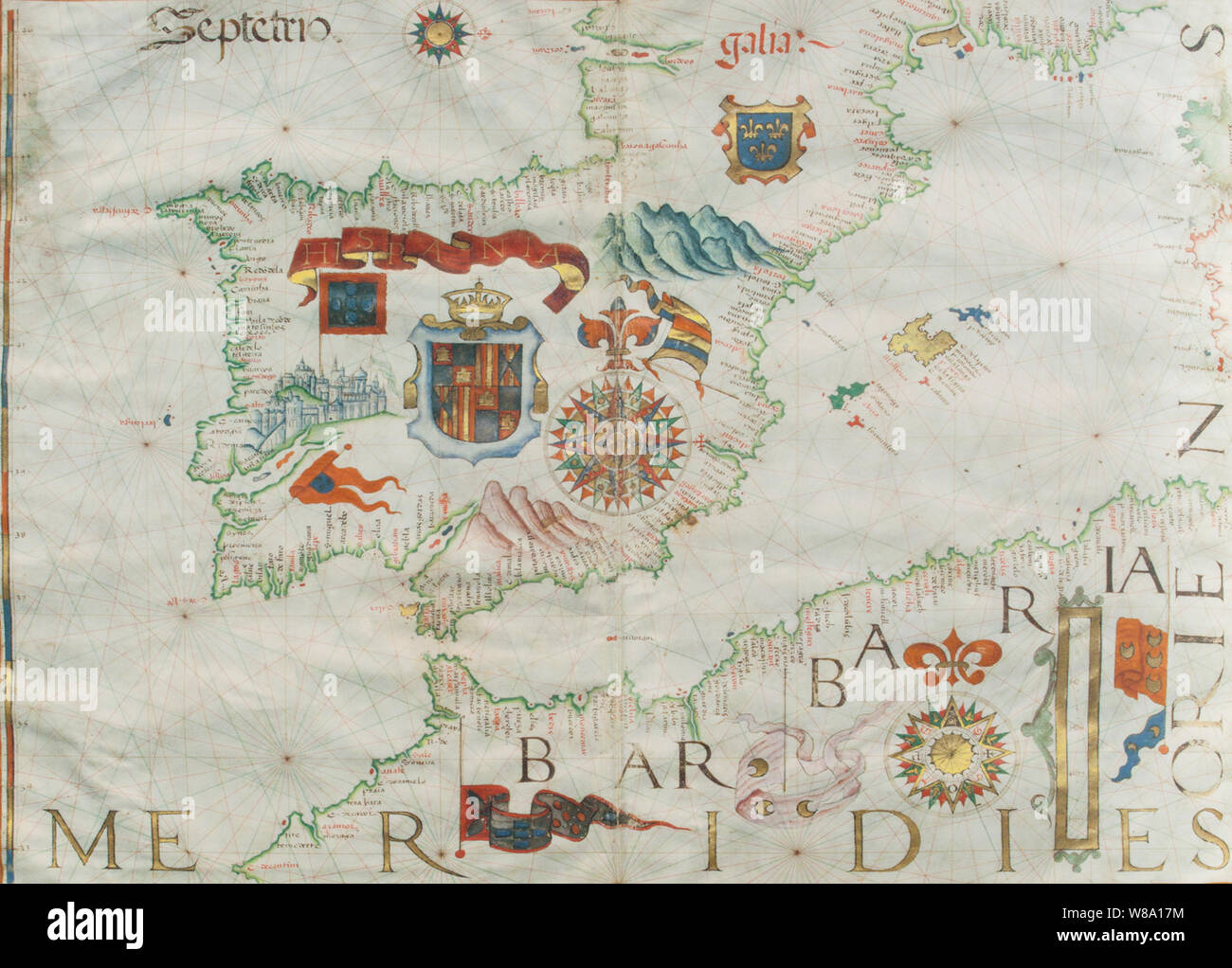 1561 Portulan map of Ibrian Peninsula painted by Diego Homen. Original at Spanish Naval Museum Stock Photo