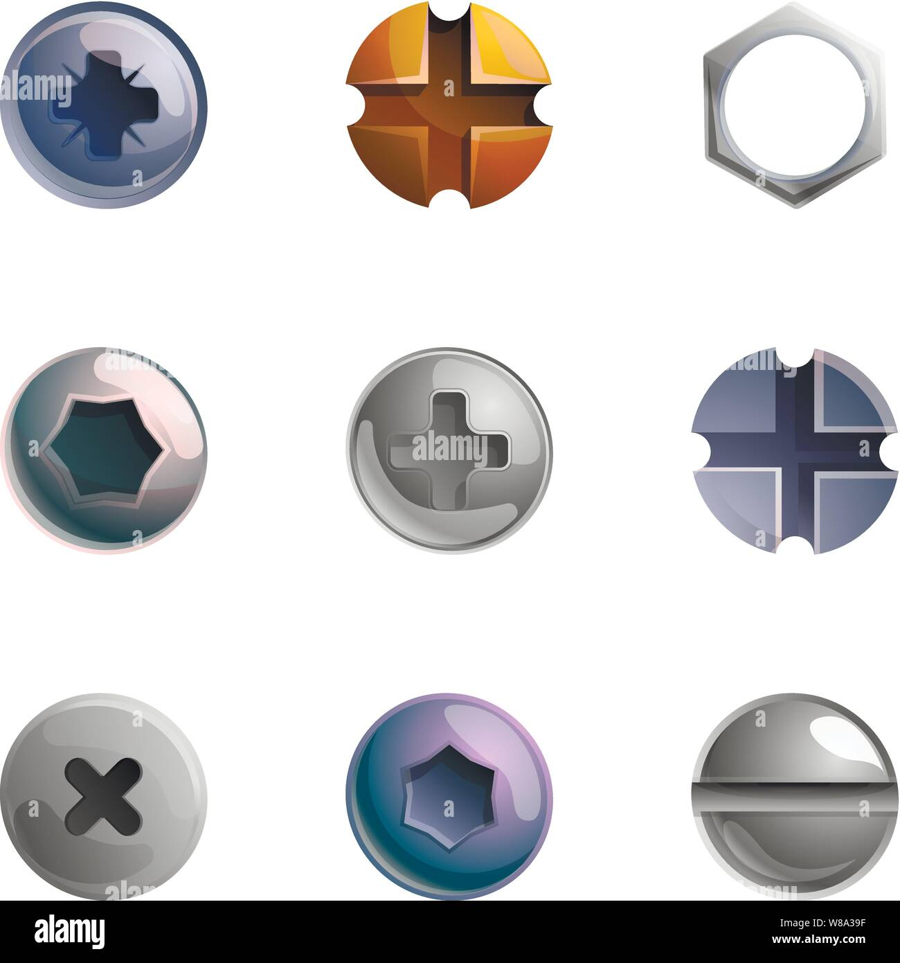 Metal screw head icon set. Cartoon set of 9 metal screw head vector icons for web design isolated on white background Stock Vector