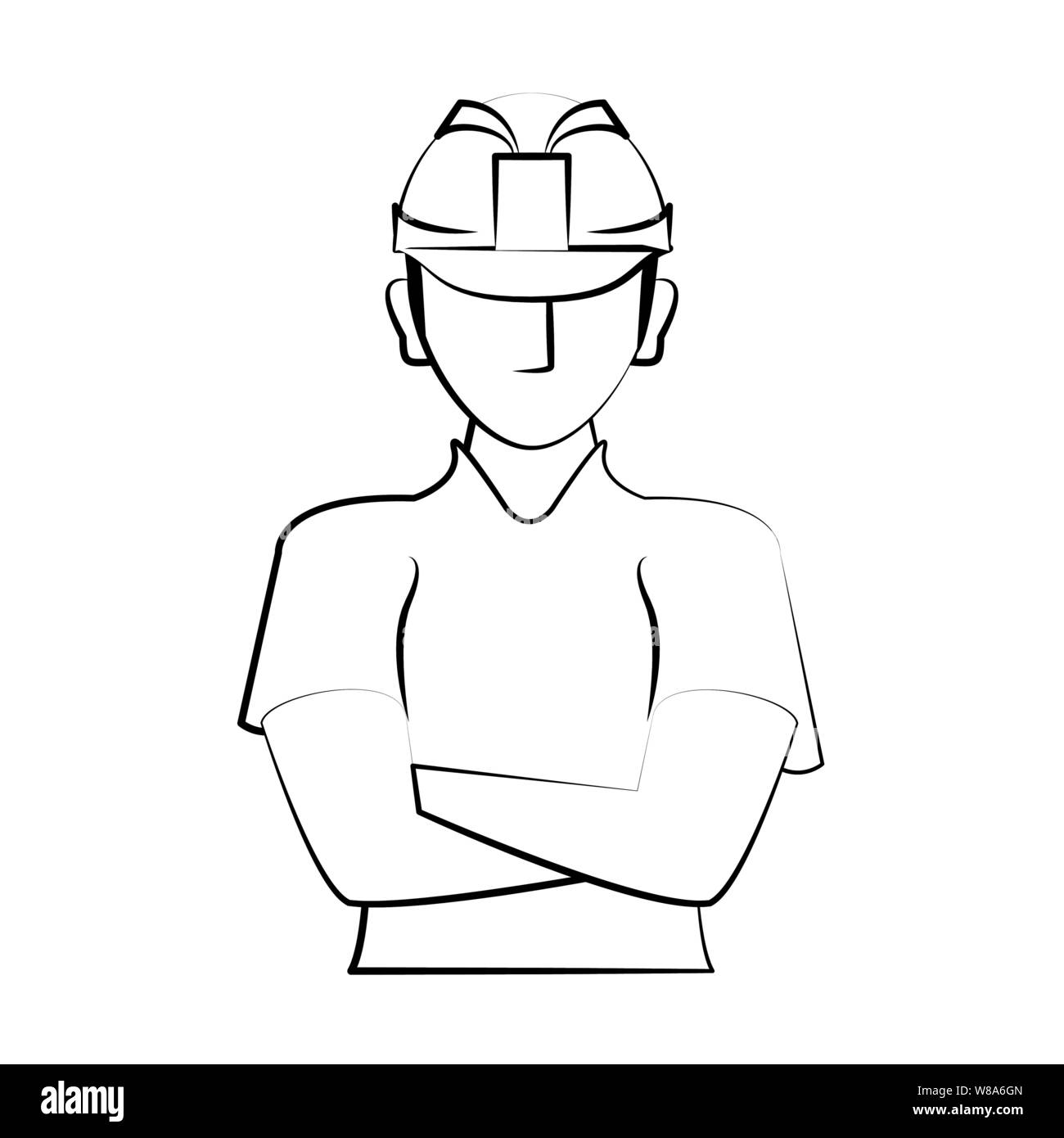 engineering construction factory industry cartoon drawing in black and white Stock Vector