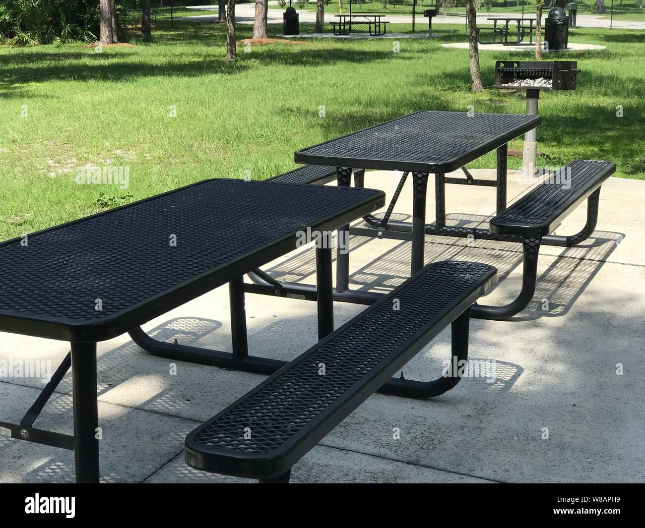 Stupendous Picnic Tables Benches And Grill In Park Photo Image Stock Caraccident5 Cool Chair Designs And Ideas Caraccident5Info