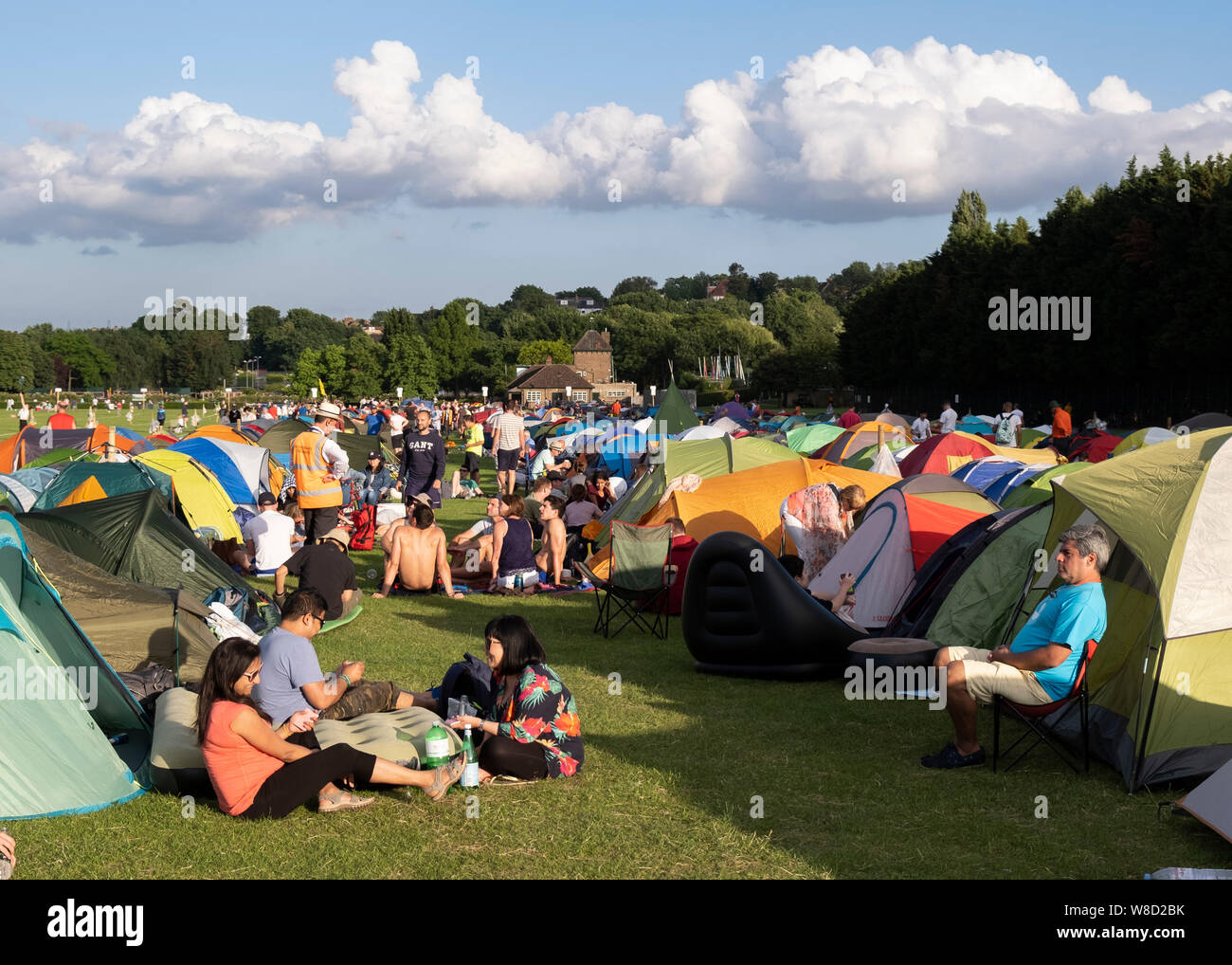 Tennis fans camping at the 2019 Wimbledon Championships, London, England, United Kingdom Stock Photo