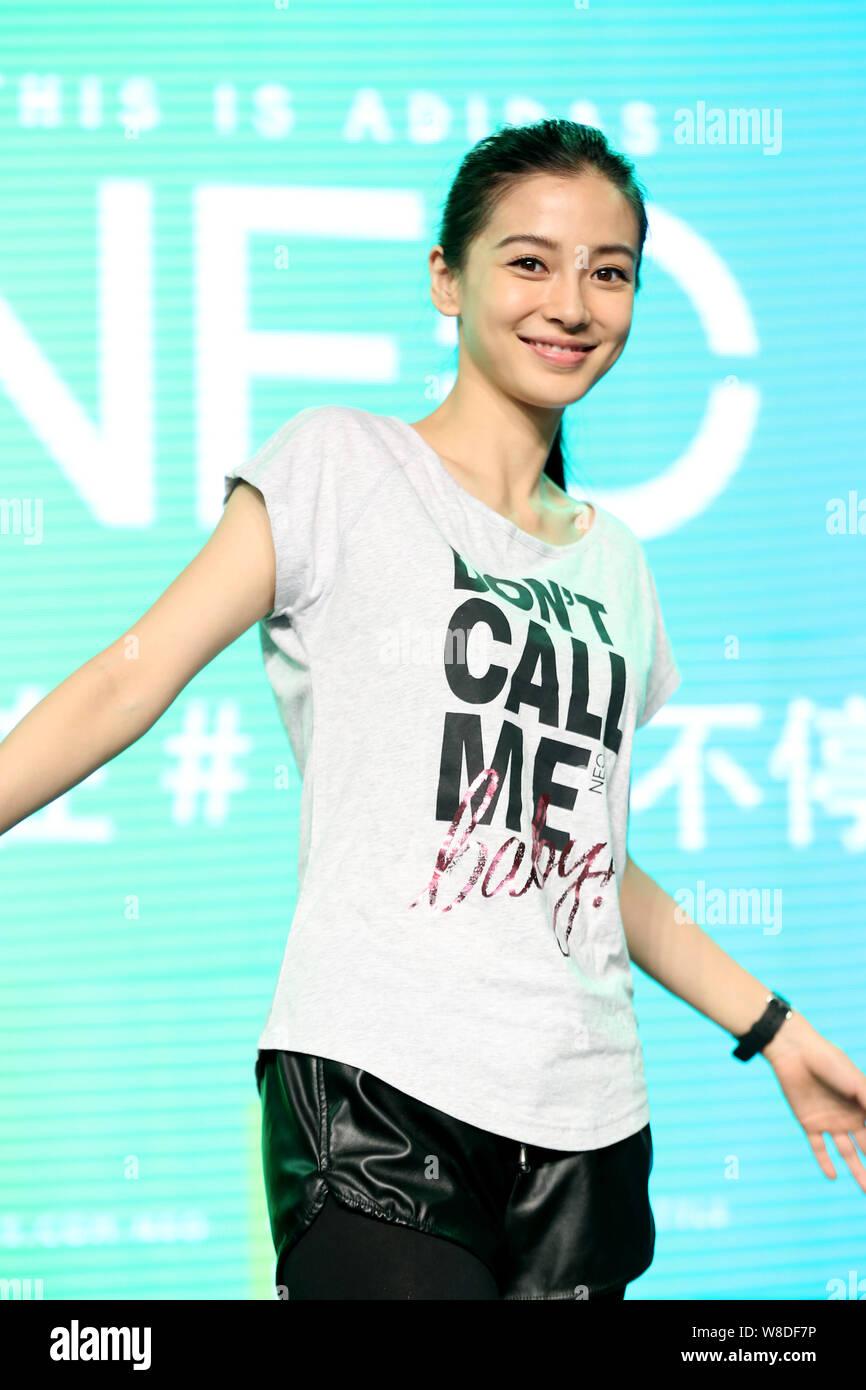 Hong Kong actress Angelababy poses during a promotional