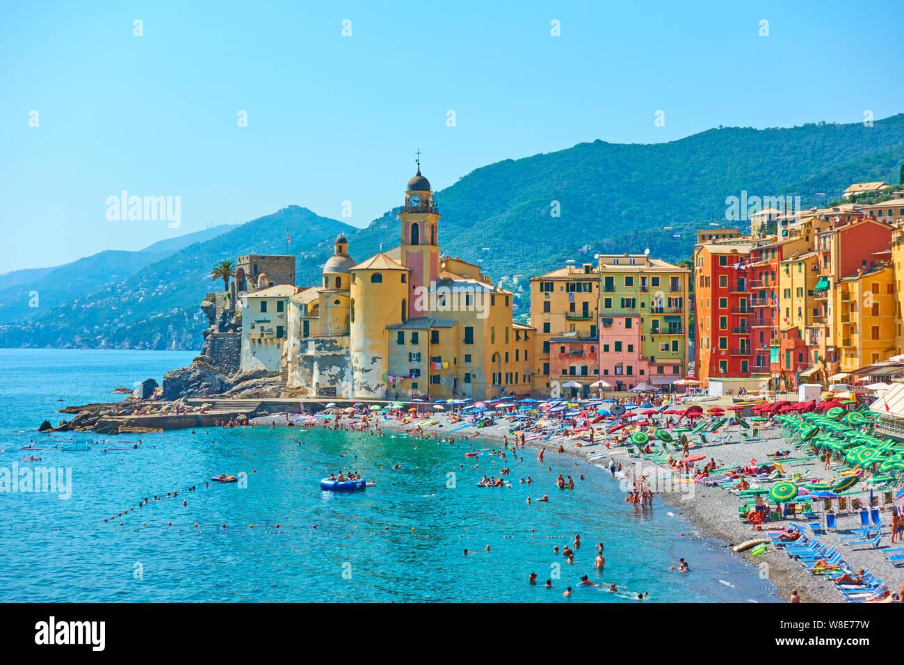 Camogli Genoa Italy July 1 2019 Beach And Waterfront In Camogli Town Near Genoa On Sunny Summer Day Liguria Stock Photo Alamy