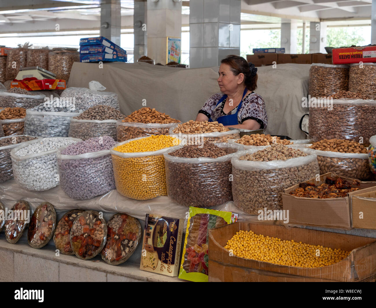 Auf dem Basar, Samarkand, Usbekistan, Asien  Bazaar in Samarkand, Uzbekistan, Asia Stock Photo
