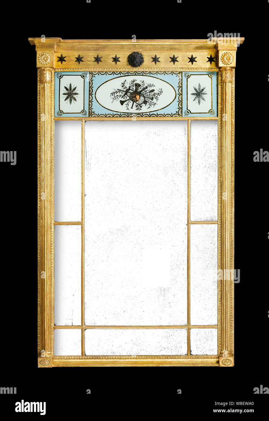 Antique Pier Mirror Gold Gilt Etched Glass Panels Stock Photo Alamy