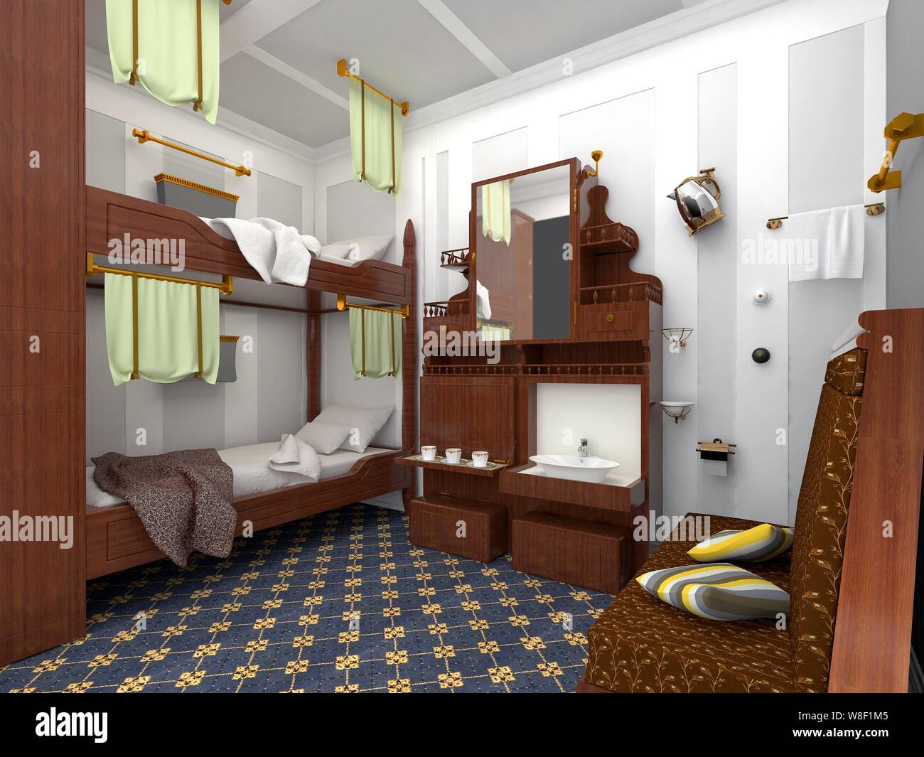 This Artist Rendition Shows An Interior View Of The Bedroom Of A Second Class Cabin In A Full Scale Replica Of The Titanic Ocean Liner Built By Seven Stock Photo Alamy