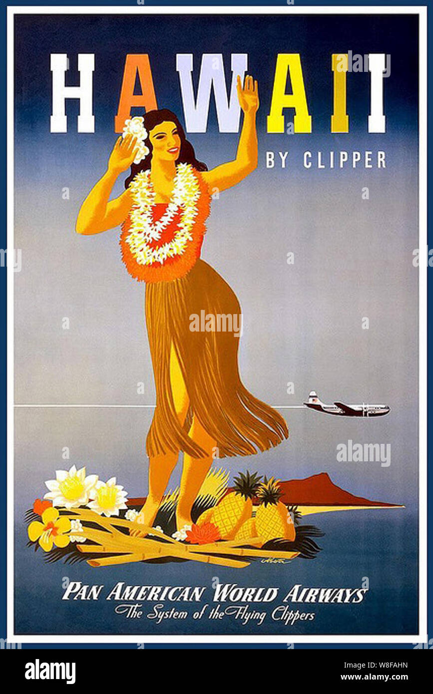 Hawaii Hawaiian Girl United States America Vintage Travel Advertisement Poster