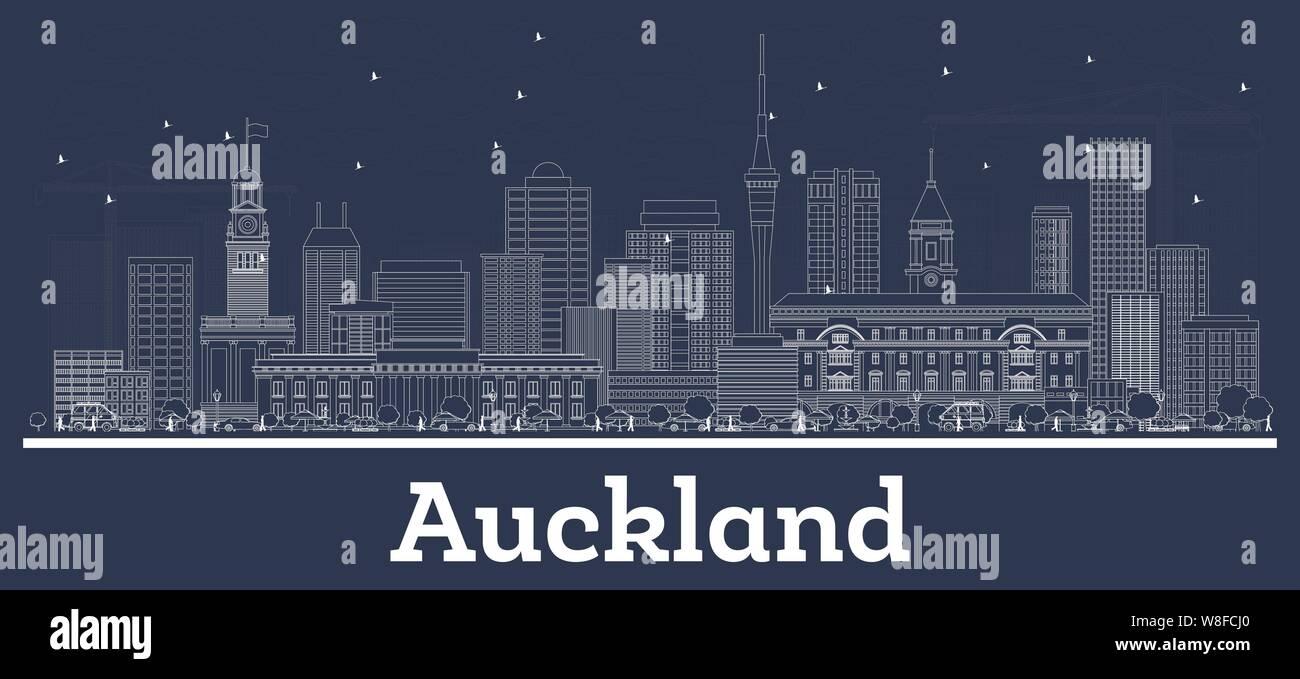 Outline Auckland New Zealand City Skyline with White Buildings. Vector Illustration. Business Travel and Concept with Modern Architecture. Stock Vector