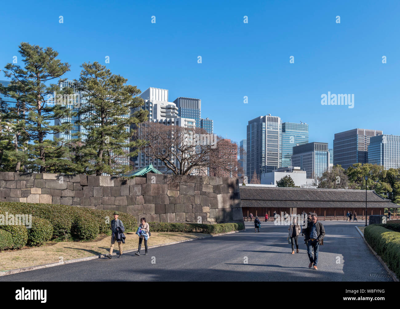 Skyscrapers in the Marunouchi district viewed from the East Gardens of the Imperial Palace, Tokyo, Japan Stock Photo