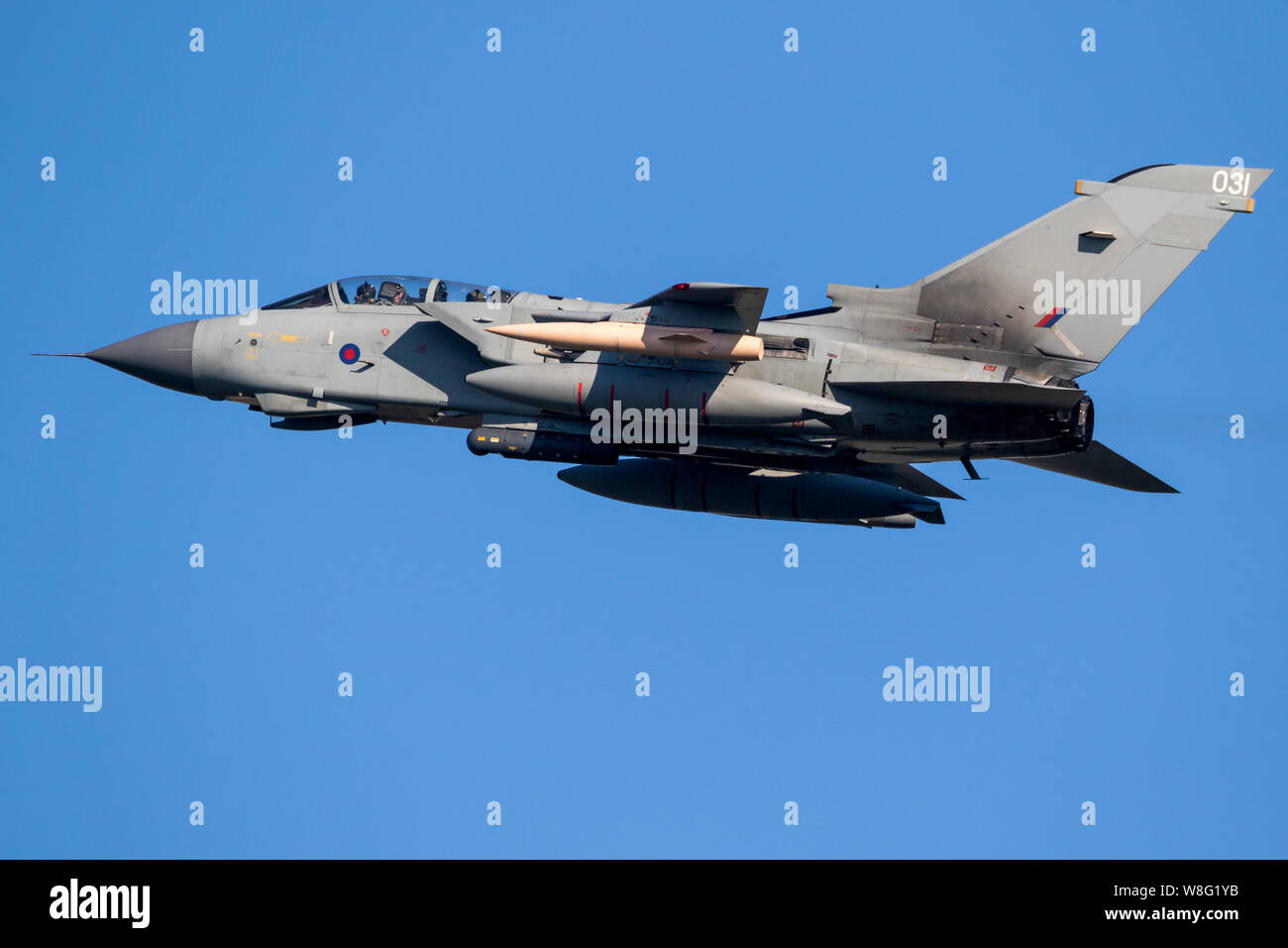 LEEUWARDEN, THE NETHERLANDS - MAR 28, 2017: British Royal Air Force Tornado GR-4 bomber jet aircraft in flight during NATO exercise Frisian Flag. Stock Photo