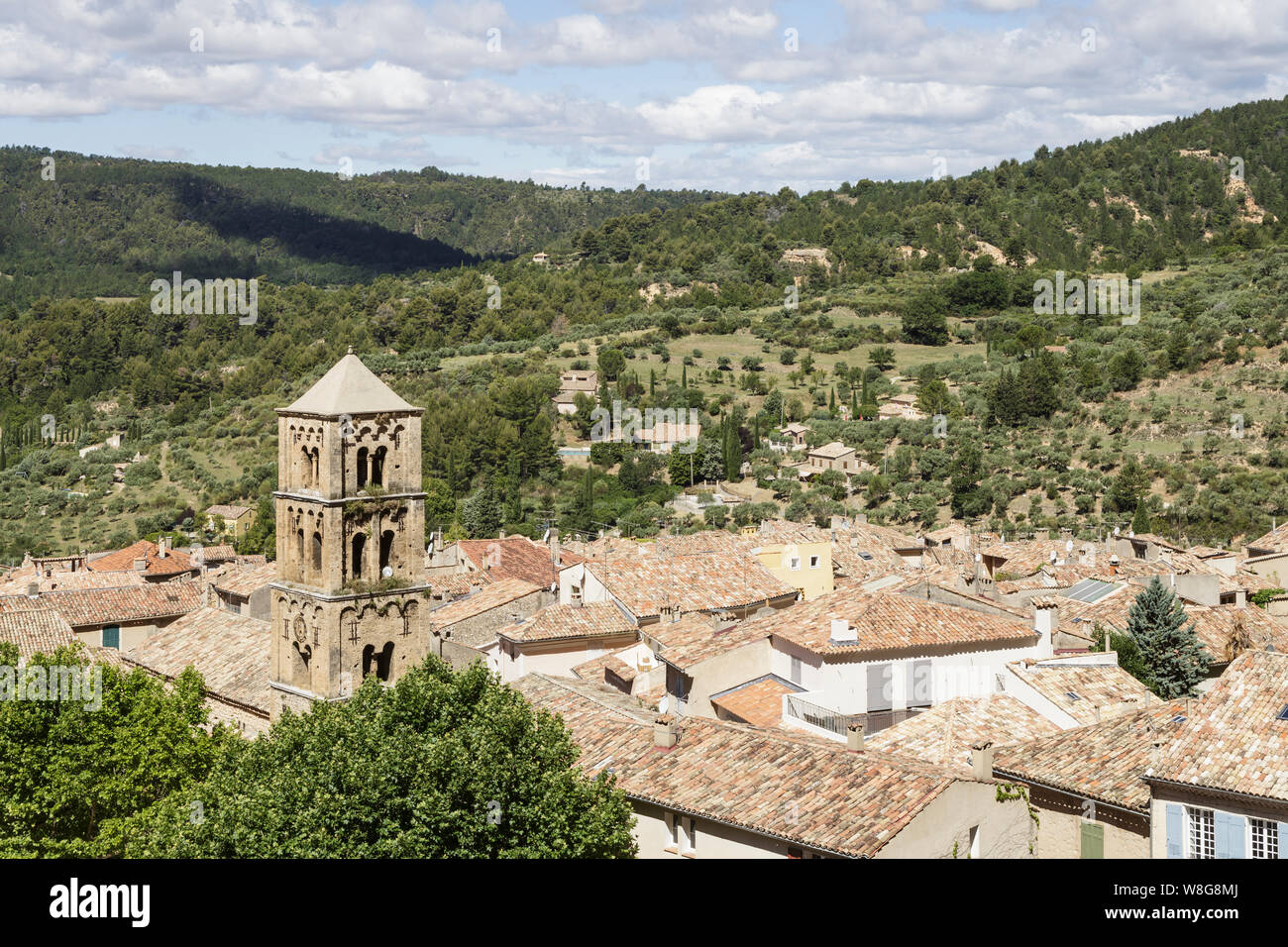 The village of Moustiers Sainte Marie in Provence, France. Stock Photo