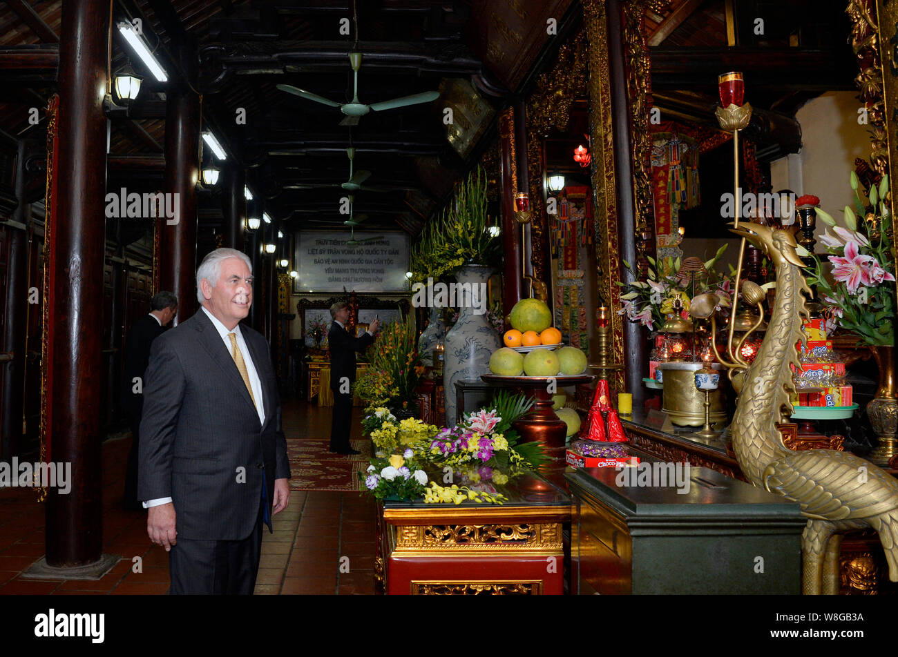 U.S. Secretary of State Rex Tillerson visits Tran Quoc pagoda, the oldest Buddhist temple in Hanoi, on November 11, 2017. Stock Photo