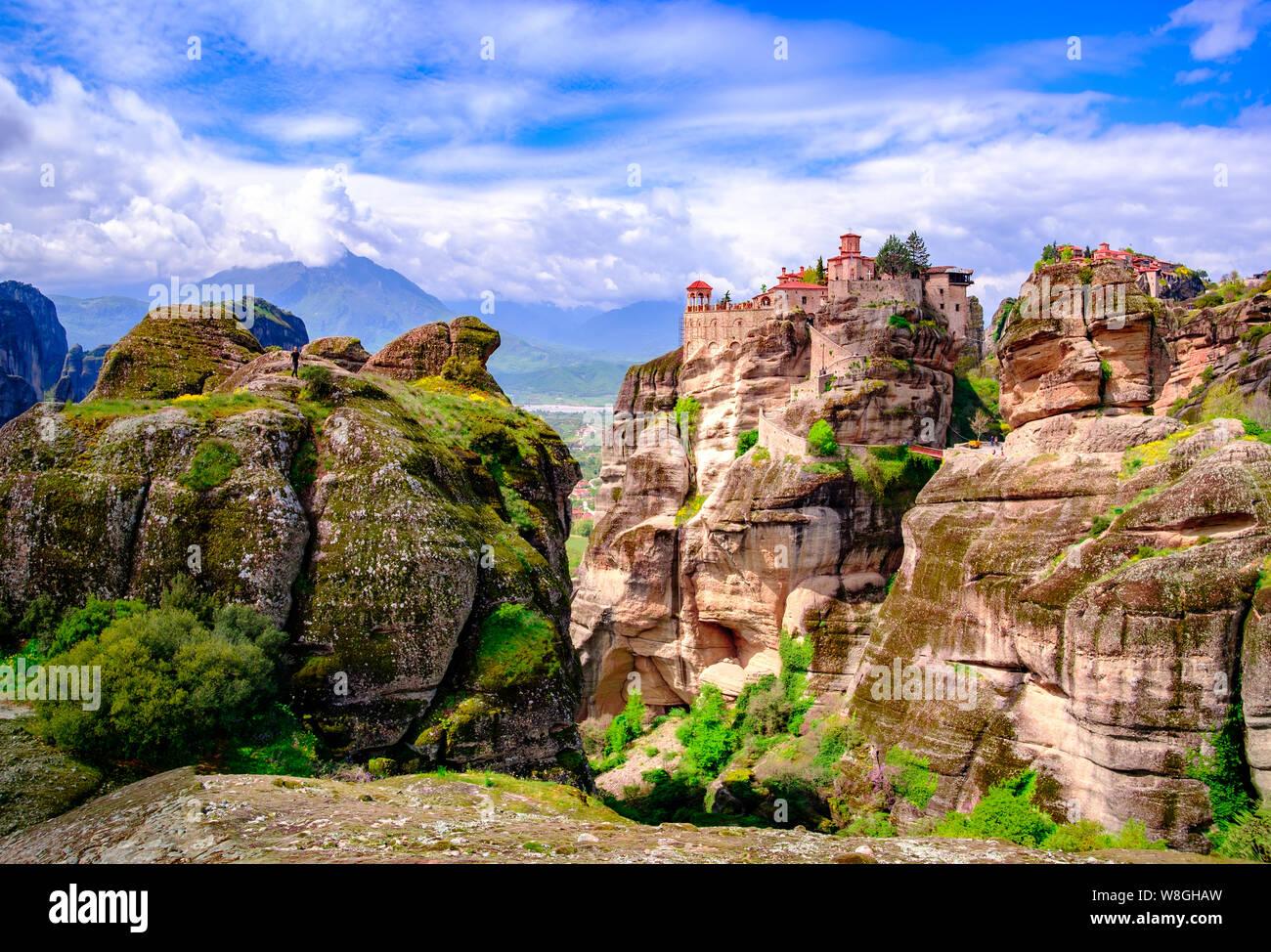 Panorama landscape photo of Meteora, UNESCO listed monastery complex, Greece Stock Photo