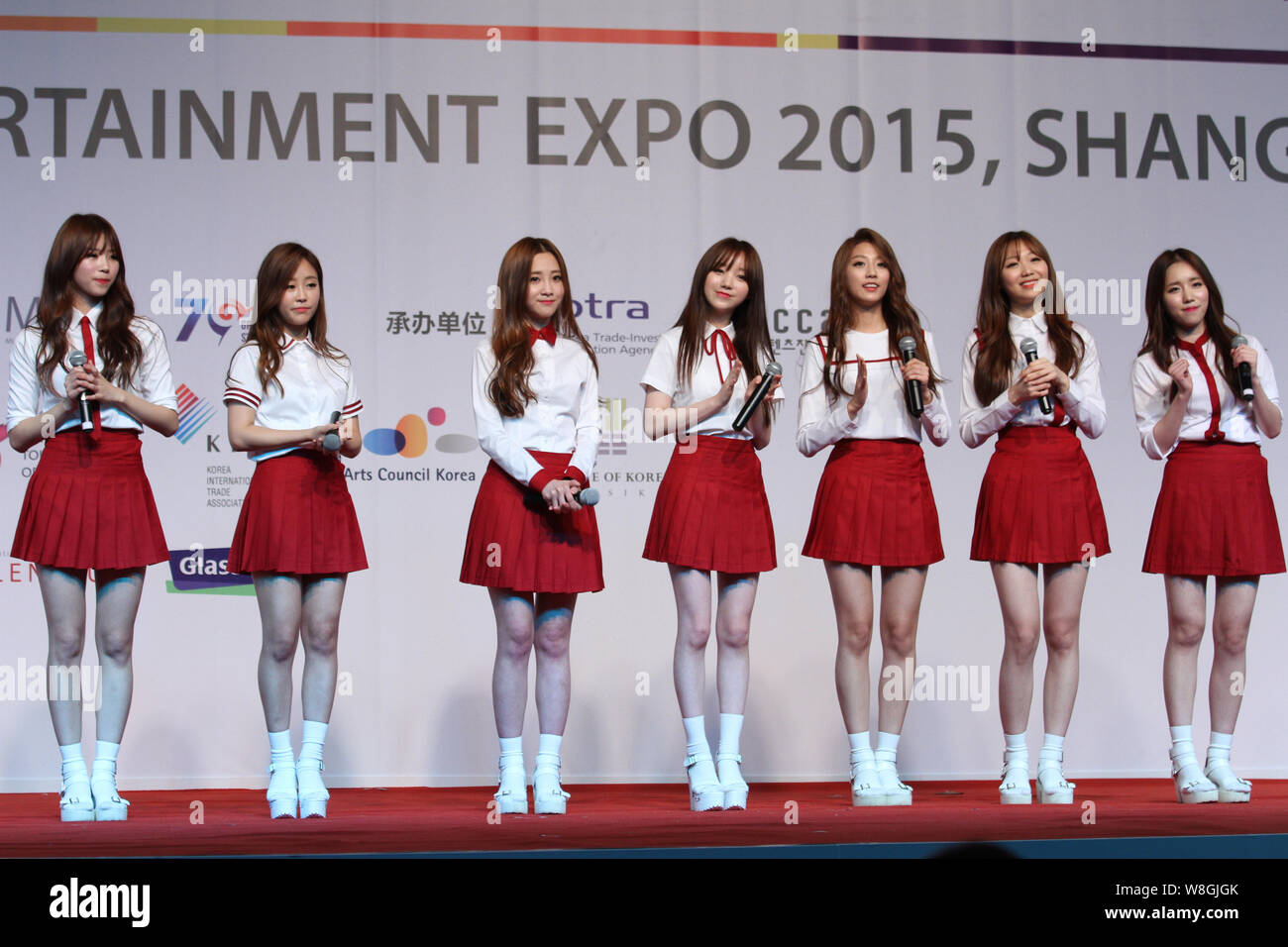 Members Of South Korean Girl Group Lovelyz Attend A Promotional