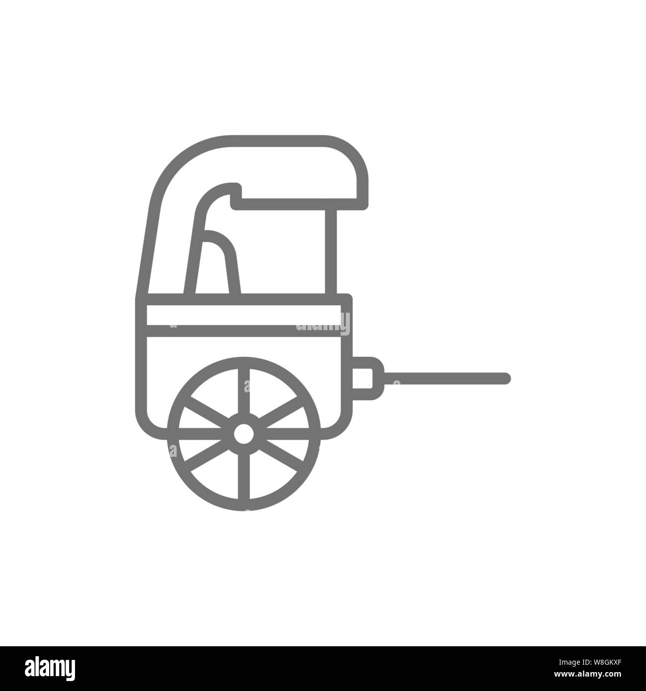 Vector rickshaw, traditional chinese taxi line icon. Stock Vector