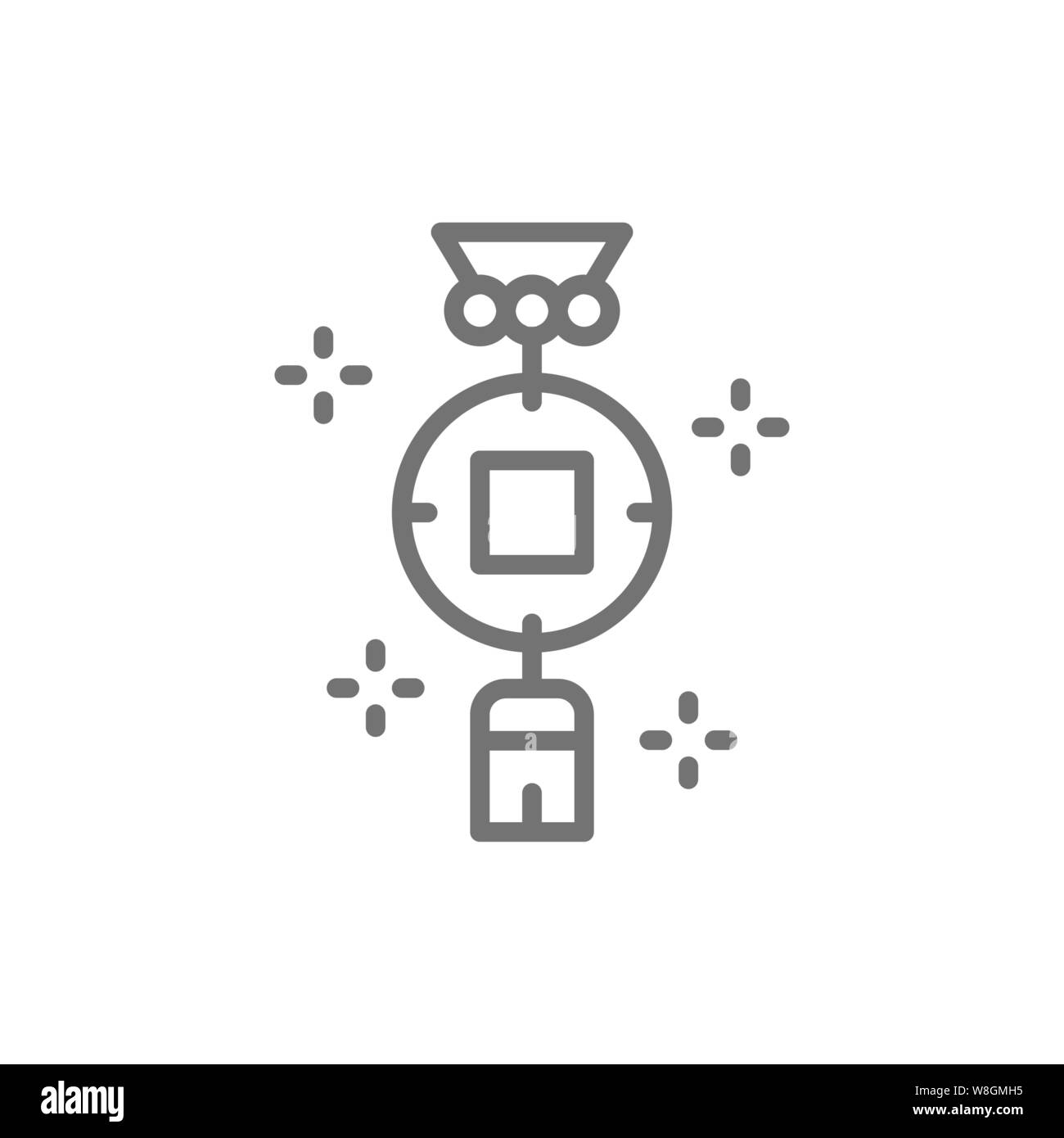 Chinese charm, feng shui coin line icon. Stock Vector