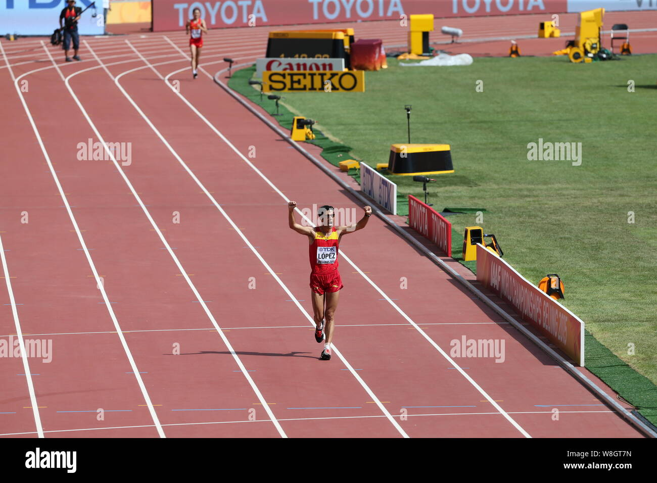 Spain's Miguel Angel Lopez celebrates his victory in the men's 20km Walk during the Beijing 2015 IAAF World Championships in Beijing, China, 23 August Stock Photo