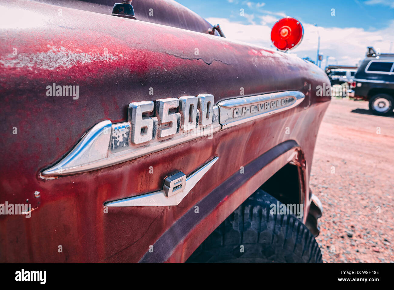 Holbrook, Arizona / USA – August 3, 2919: Old Red Chevrolet 6500 Stock Photo