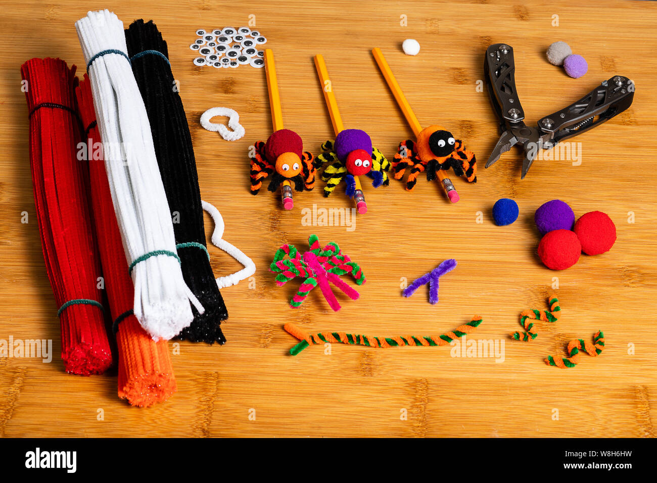 Fun Halloween Crafts Spiders Made Of Pom Poms And Pipe