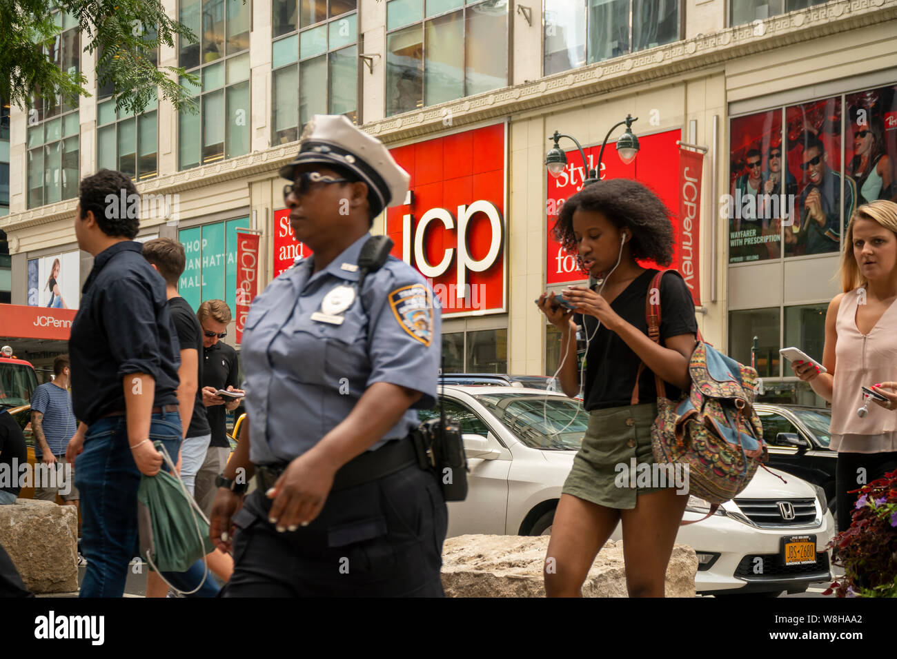 The Midtown Manhattan JCPenney department store in New York is seen on Friday, August 9, 2019.  The J.C. Penney Co. is in danger of being de-listed by the NYSE unless it gets its share price up within six months. (© Richard B. Levine) Stock Photo