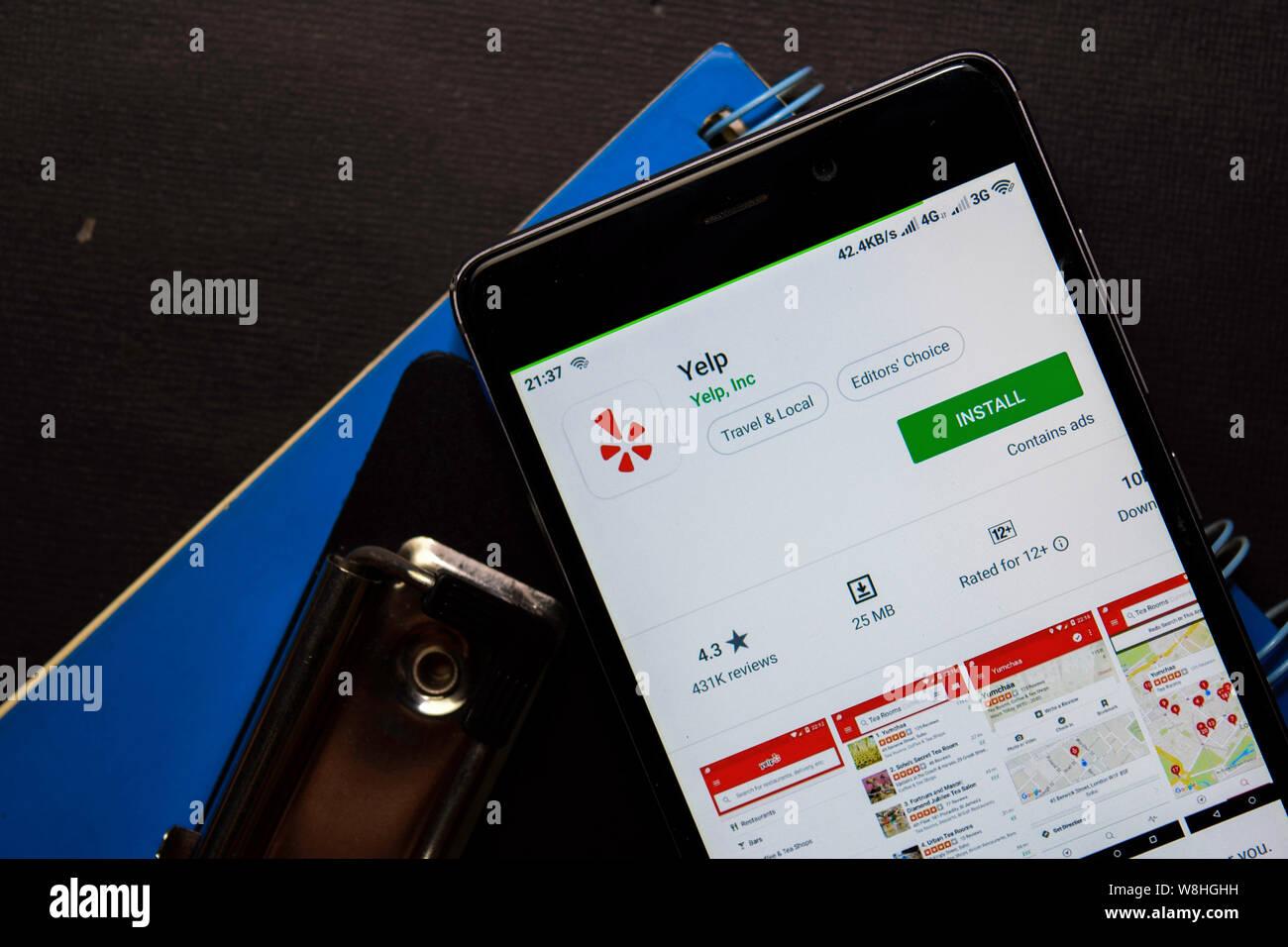 BEKASI, WEST JAVA, INDONESIA  AUGUST 10, 2019 : Yelp dev app