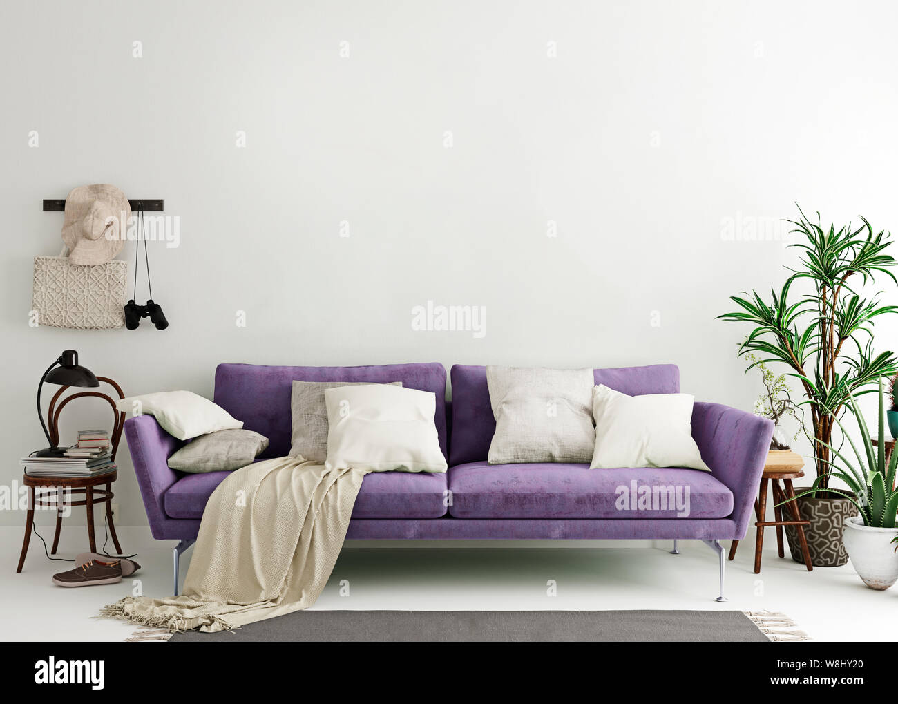 Mock up wall in purple indigo modern interior background, living room, Scandinavian style, 3D render, 3D illustration Stock Photo